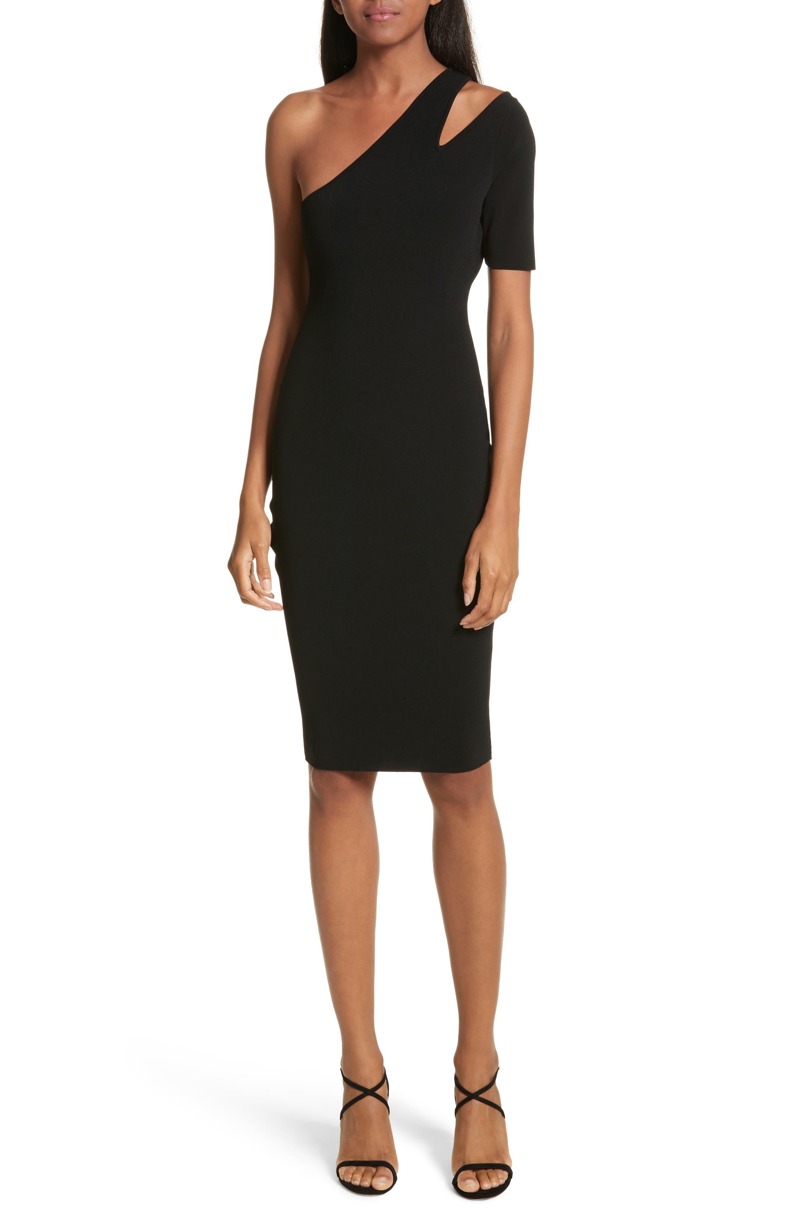 Sliced One-Shoulder Sheath Dress,                             Main thumbnail 1, color,                             001
