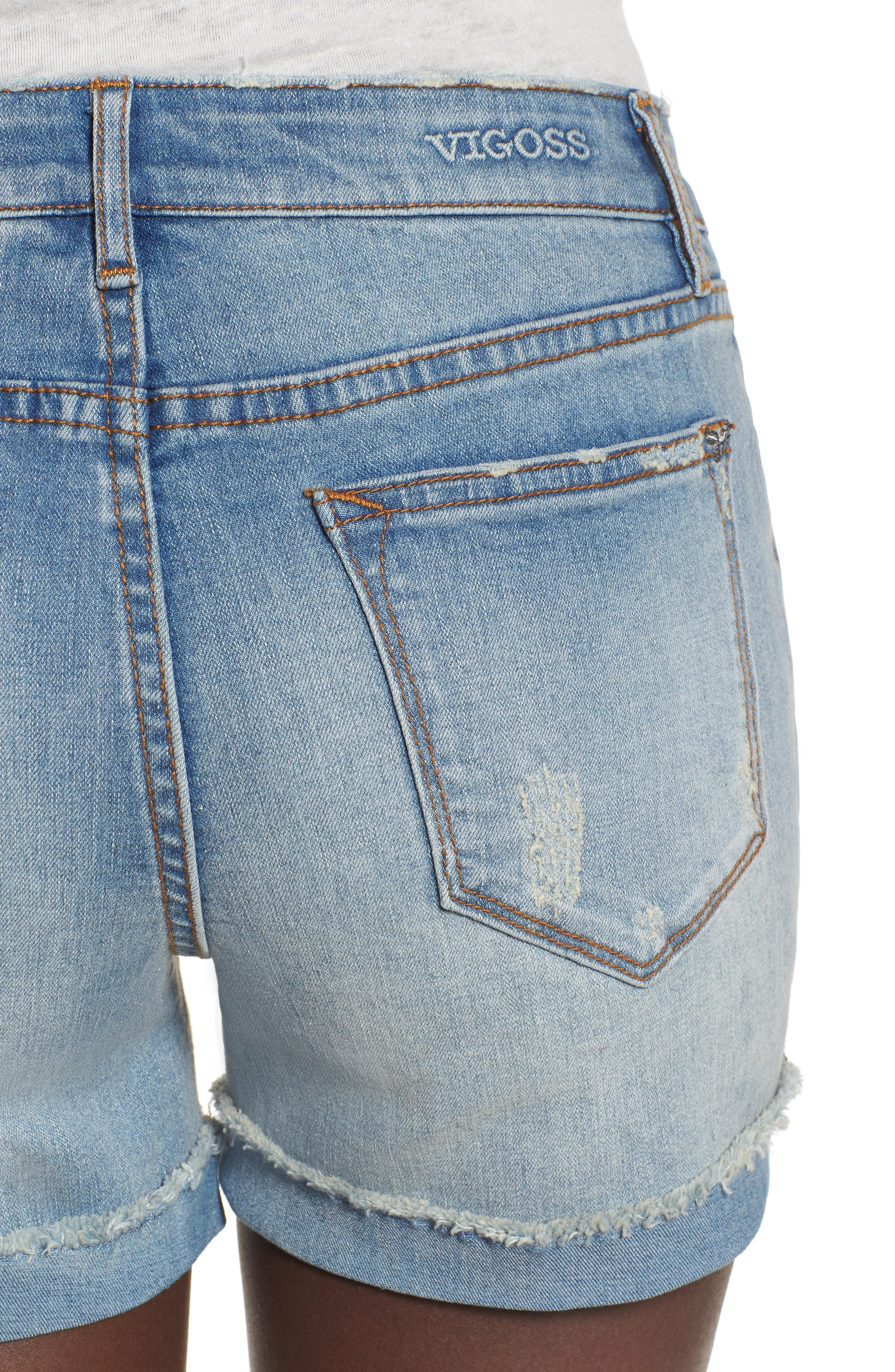 Marley Denim Shorts,                             Alternate thumbnail 4, color,                             461
