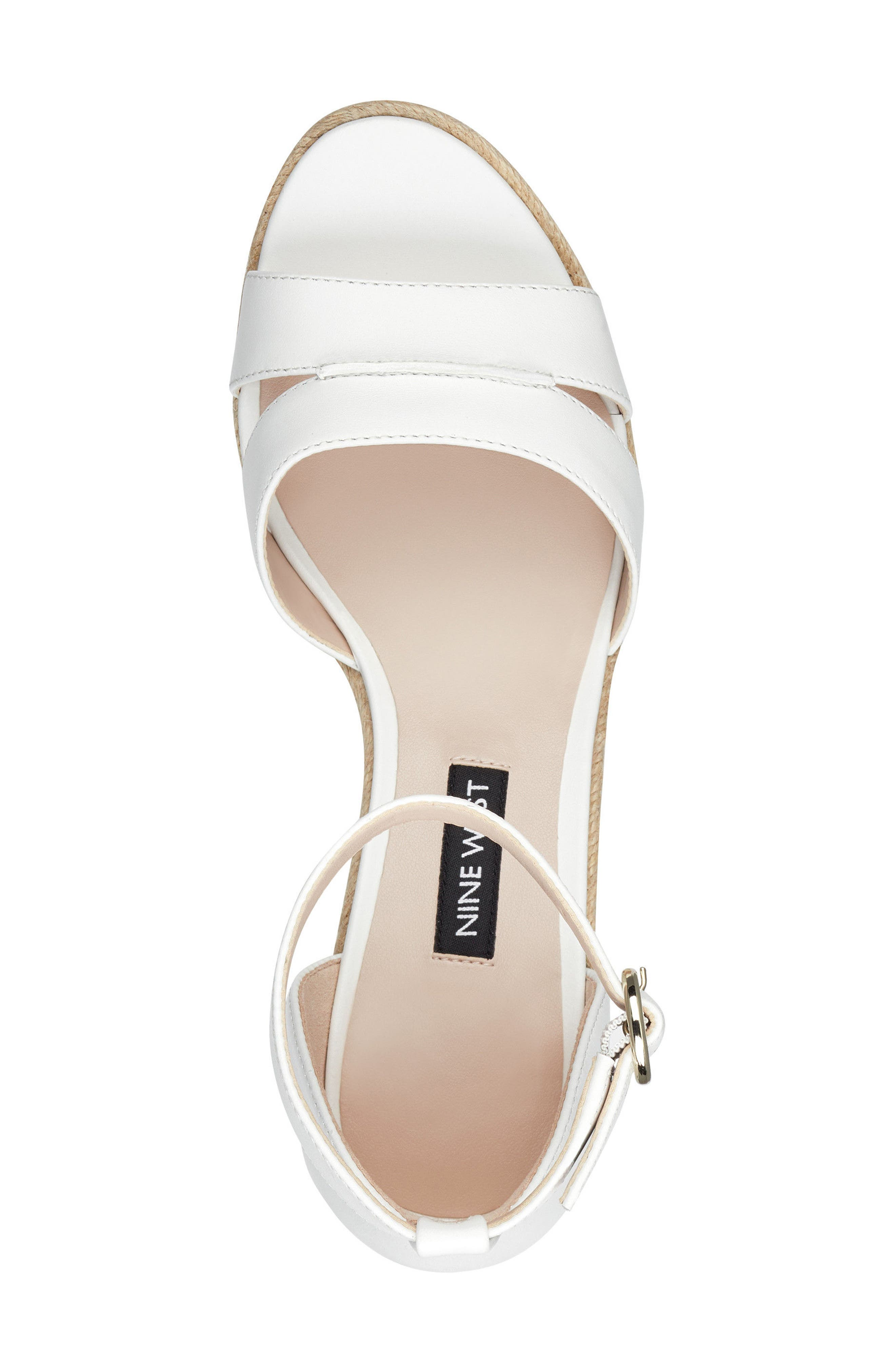 Jeranna Espadrille Wedge Sandal,                             Alternate thumbnail 5, color,                             WHITE LEATHER