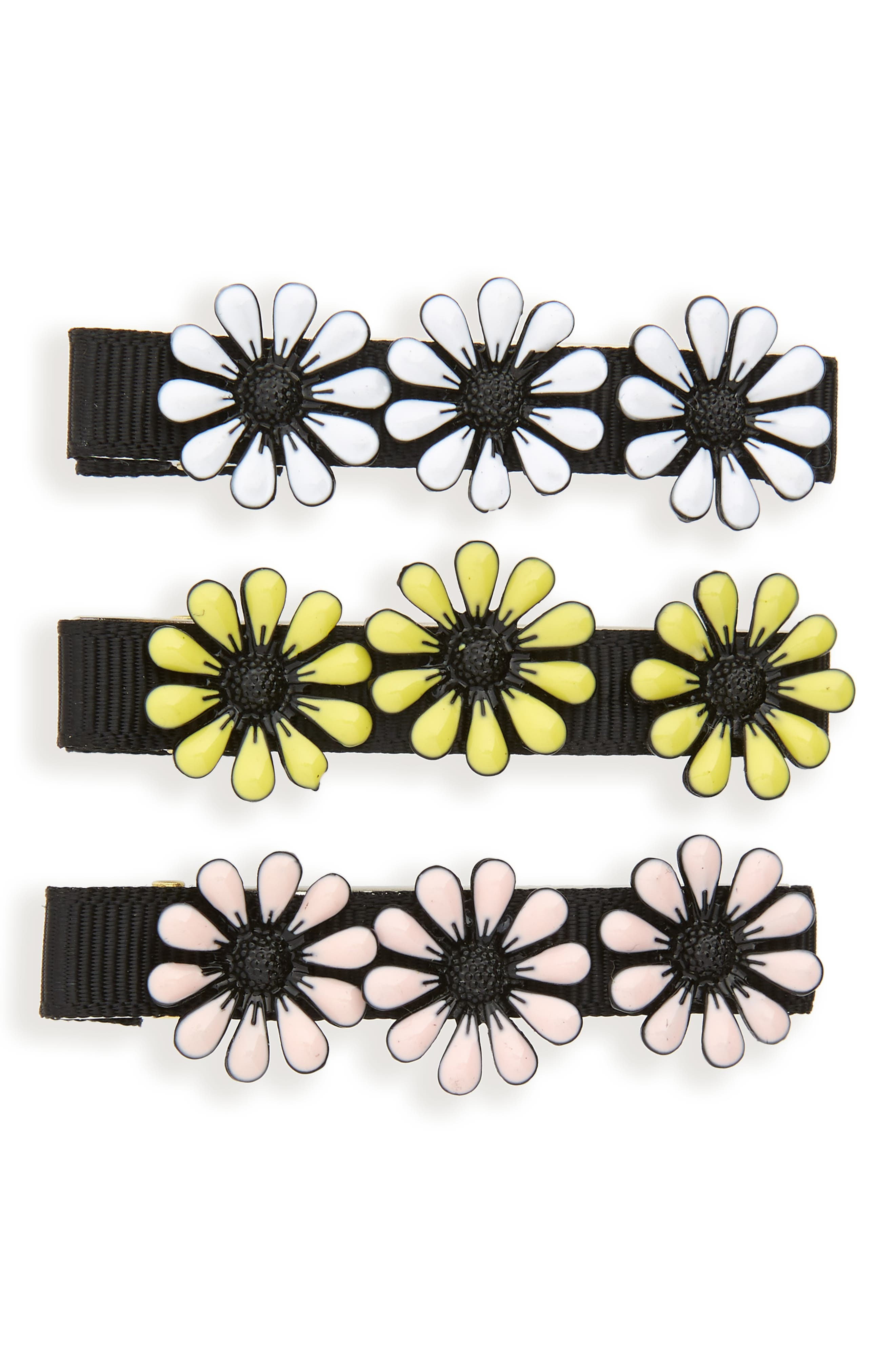 Set of 3 Enamel Daisy Hair Clips,                             Main thumbnail 1, color,                             001