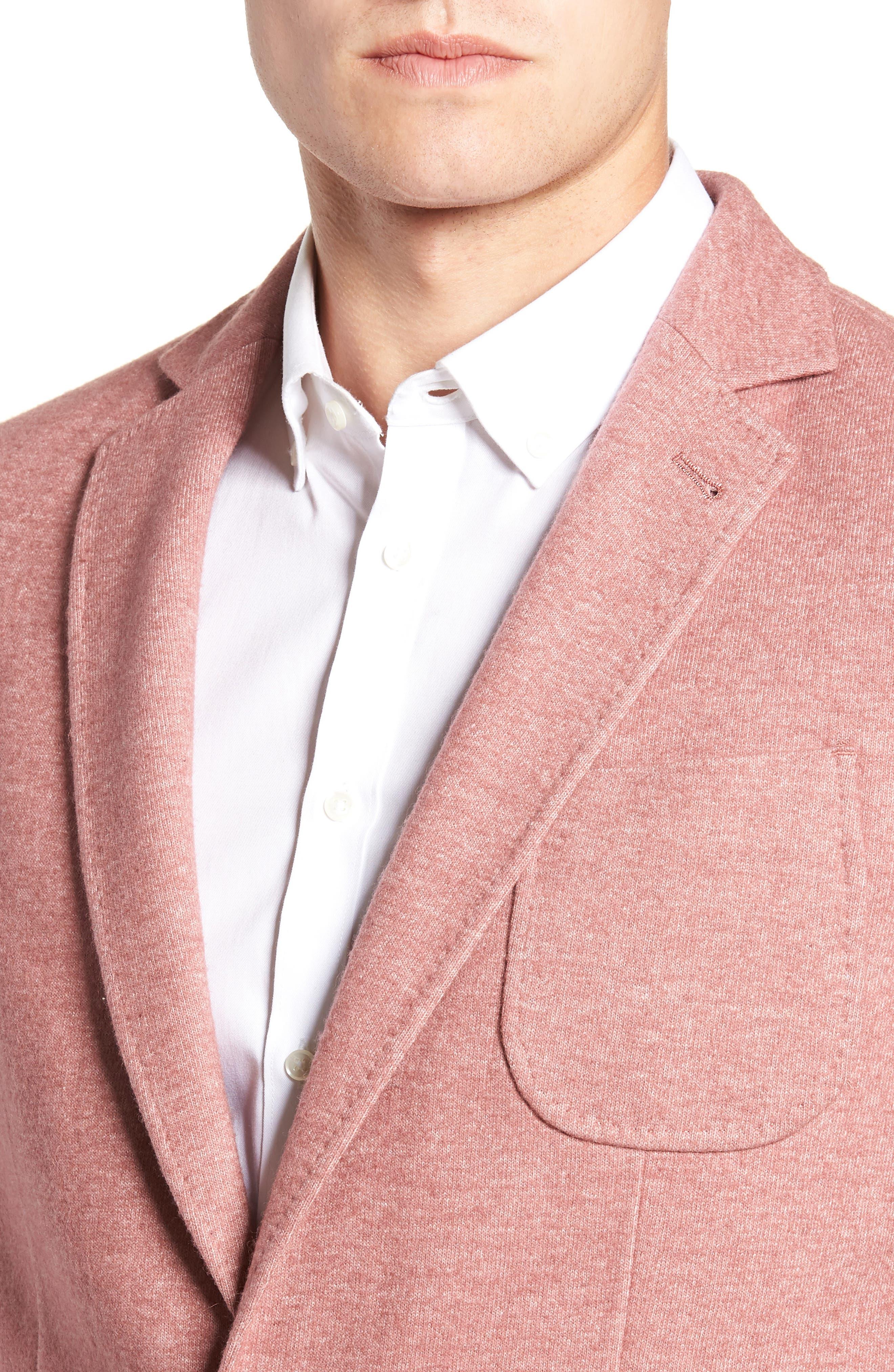 Regular Fit Knit Wool Blend Sport Coat,                             Alternate thumbnail 4, color,                             PINK