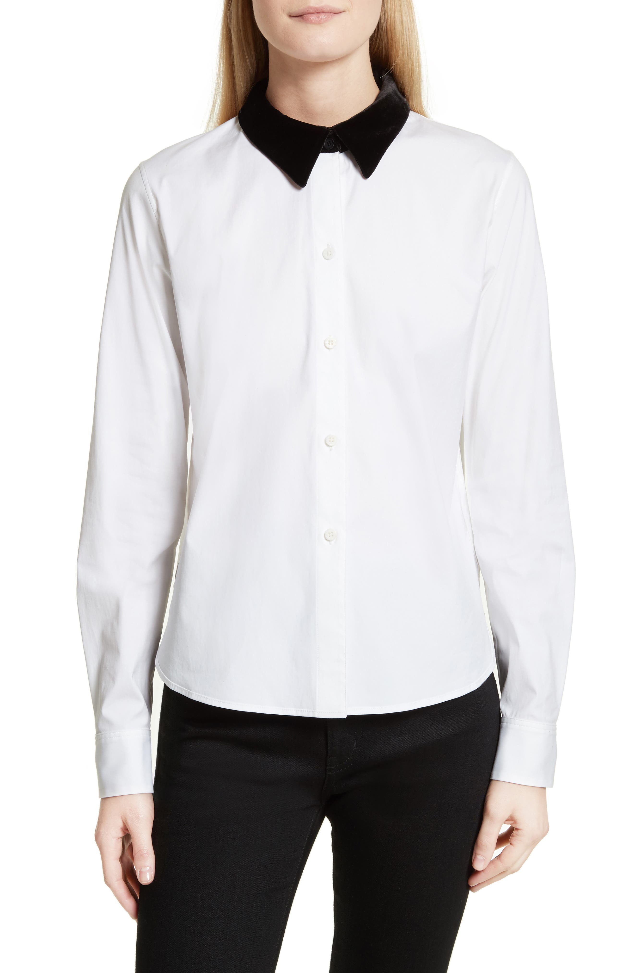 Velvet Collar Stretch Cotton Shirt,                         Main,                         color,