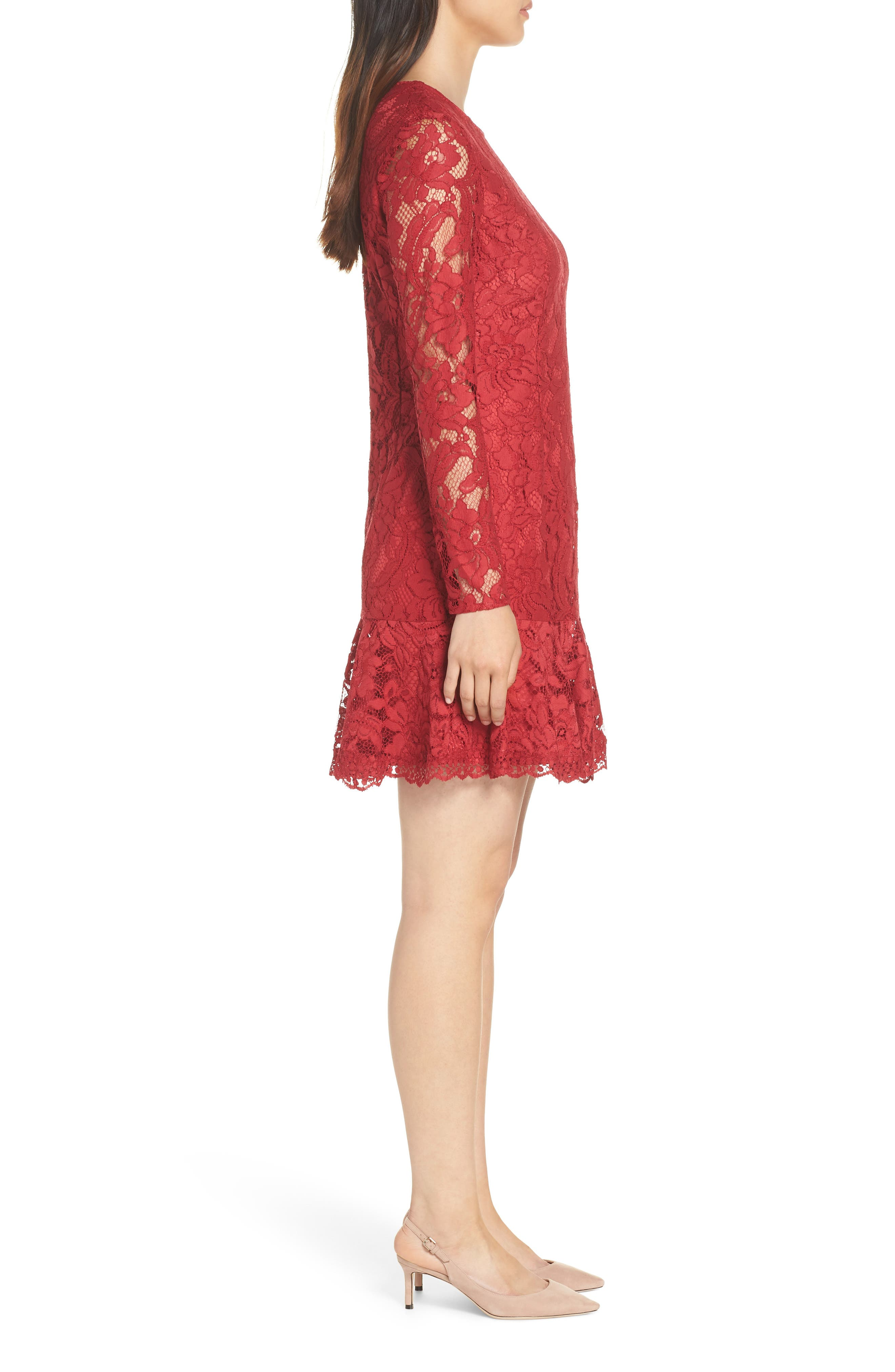 Lace Fit & Flare Dress,                             Alternate thumbnail 3, color,                             LIPSTICK RED