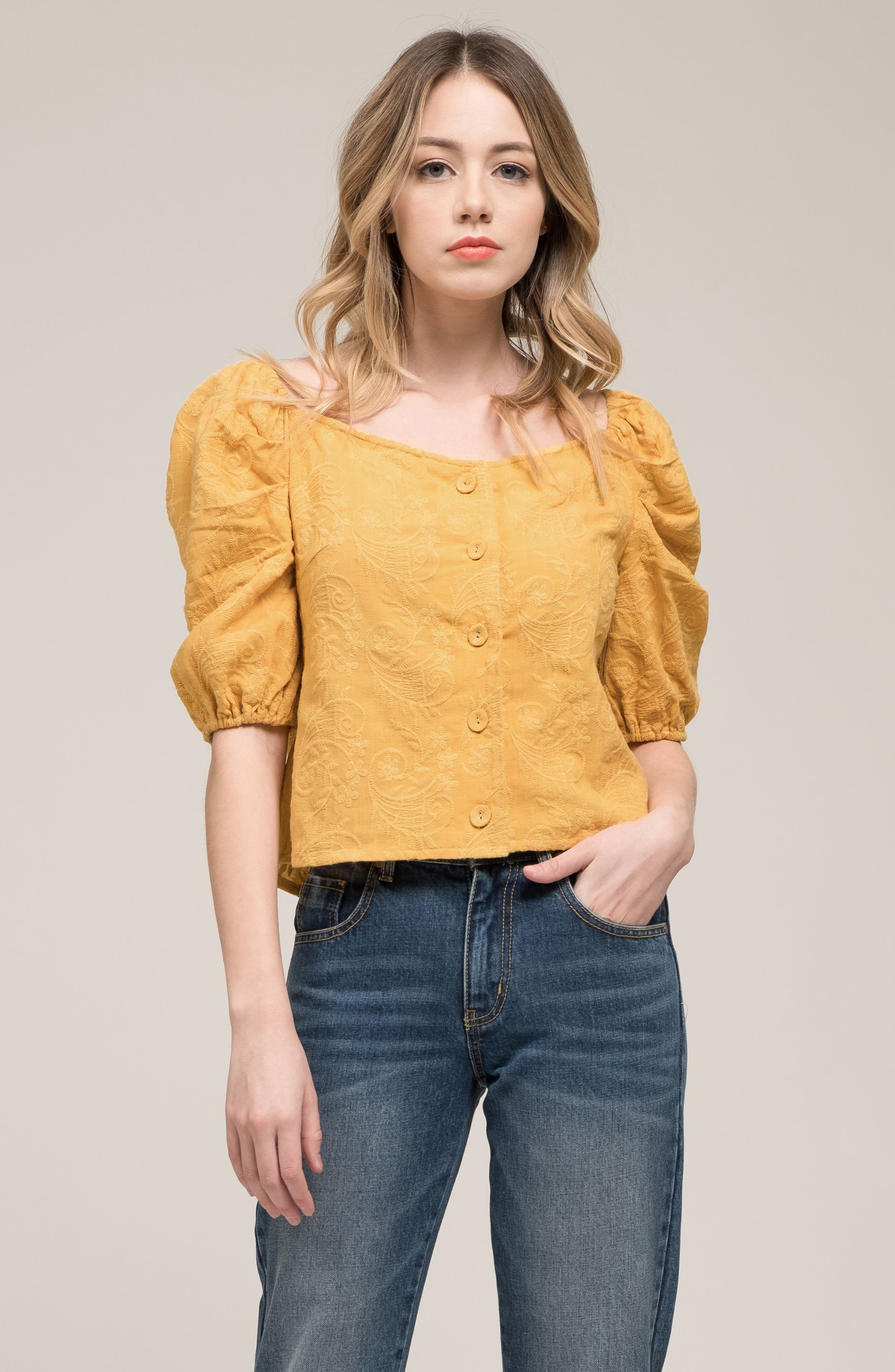 Embroidered Puff Sleeve Top,                             Alternate thumbnail 7, color,                             MAPLE