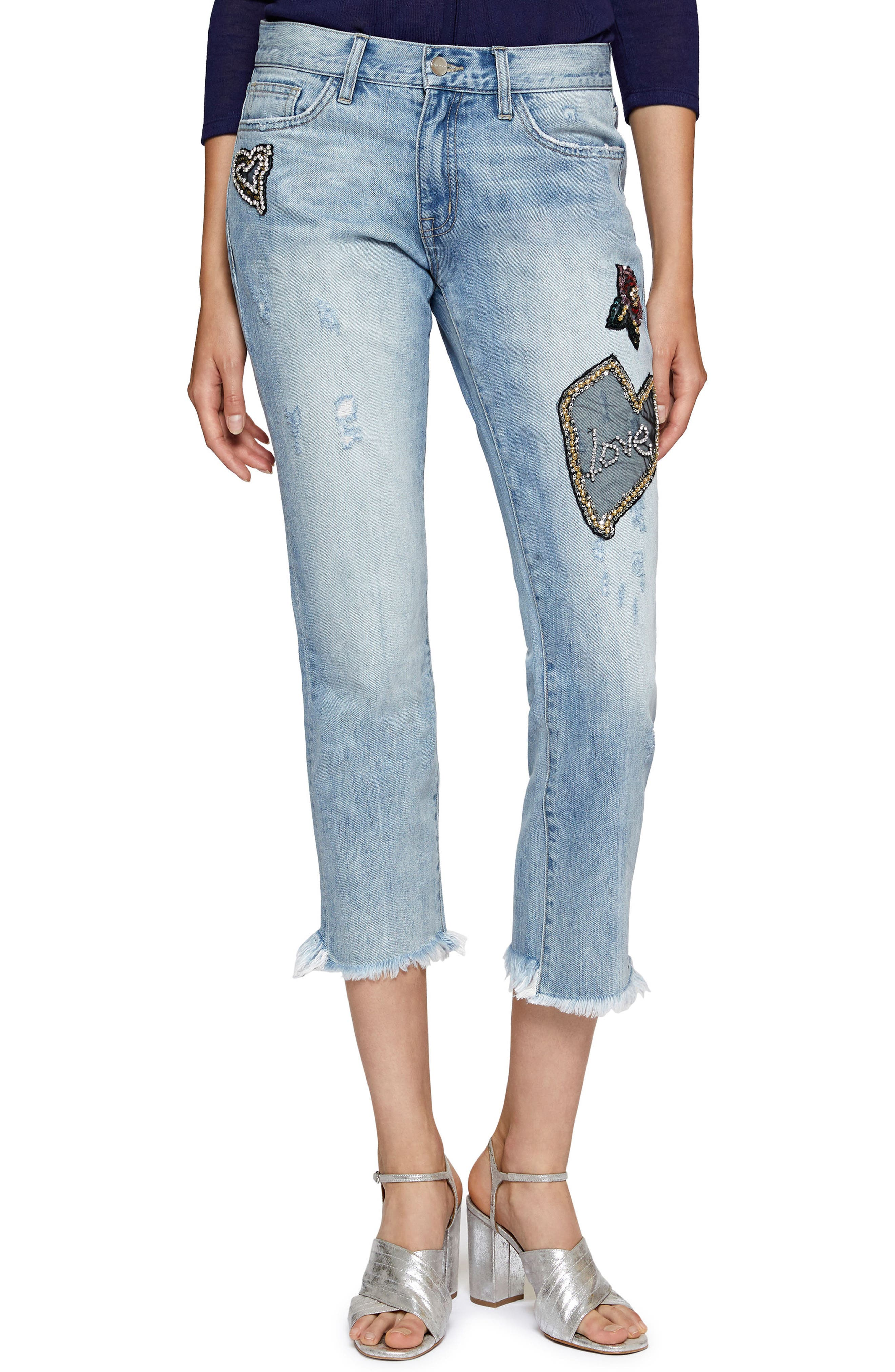 Heartbreaker Patched Slim Boyfriend Jeans,                         Main,                         color,