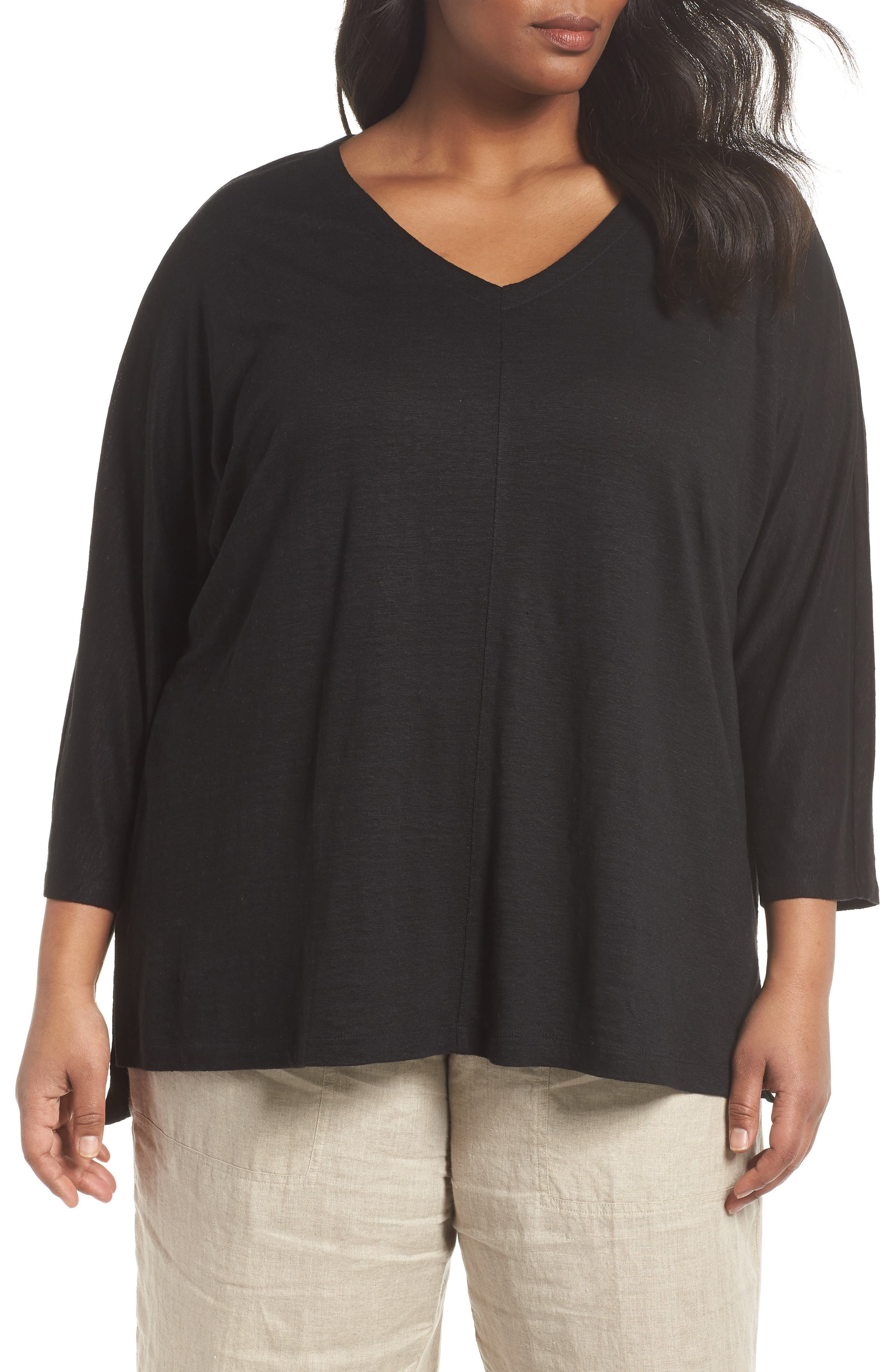 EILEEN FISHER,                             Organic Linen Top,                             Main thumbnail 1, color,                             001