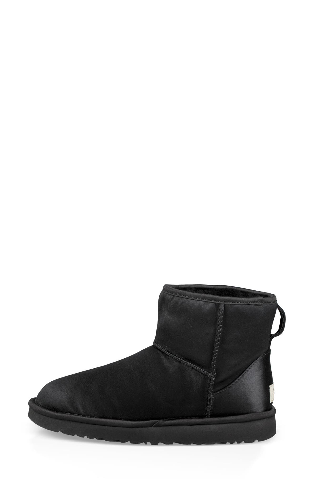Classic Mini Genuine Shearling Lined Satin Boot,                             Alternate thumbnail 6, color,                             001