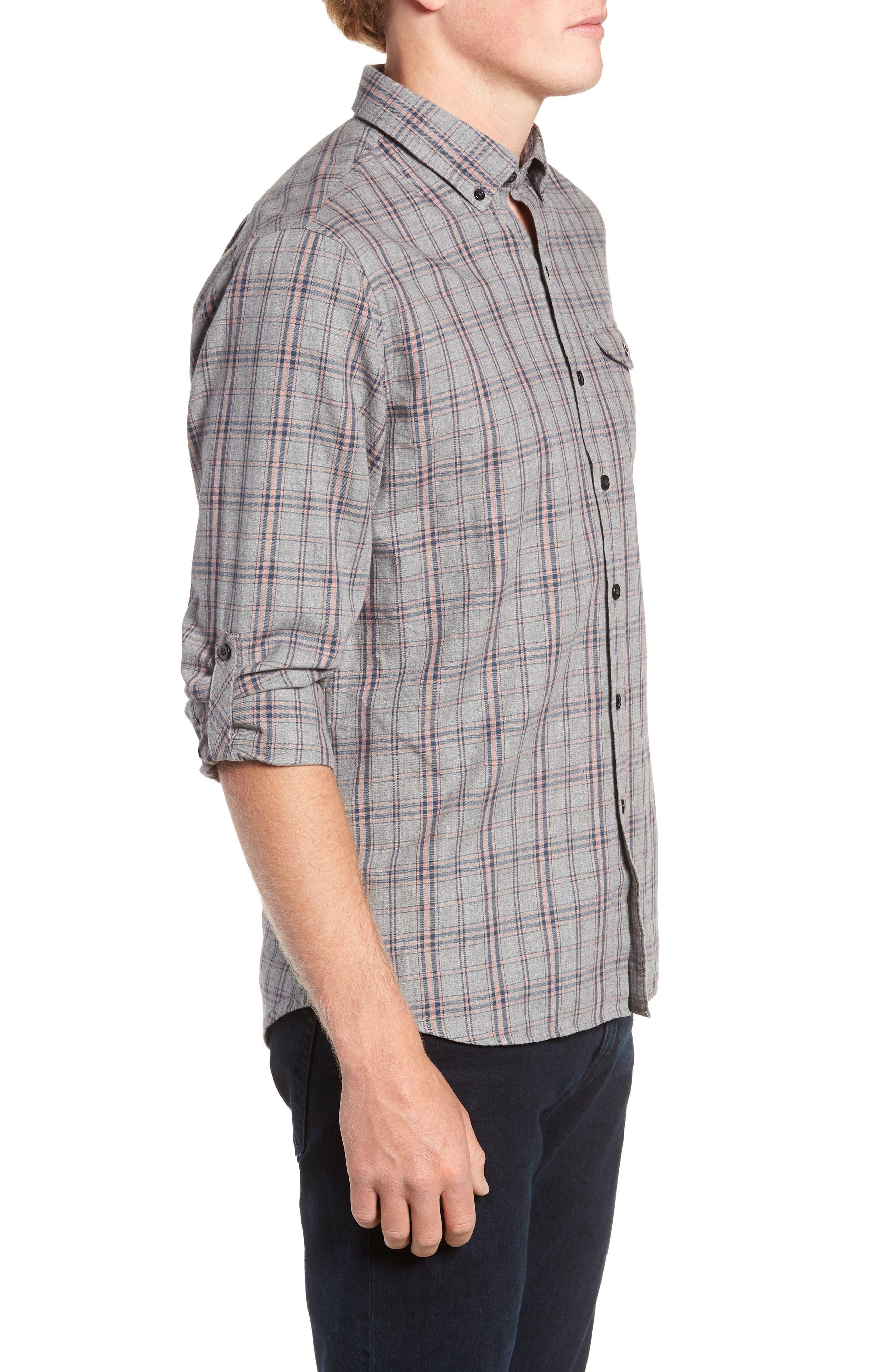 Flannel Twill Plaid Regular Fit Sport Shirt,                             Alternate thumbnail 4, color,                             CHARCOAL