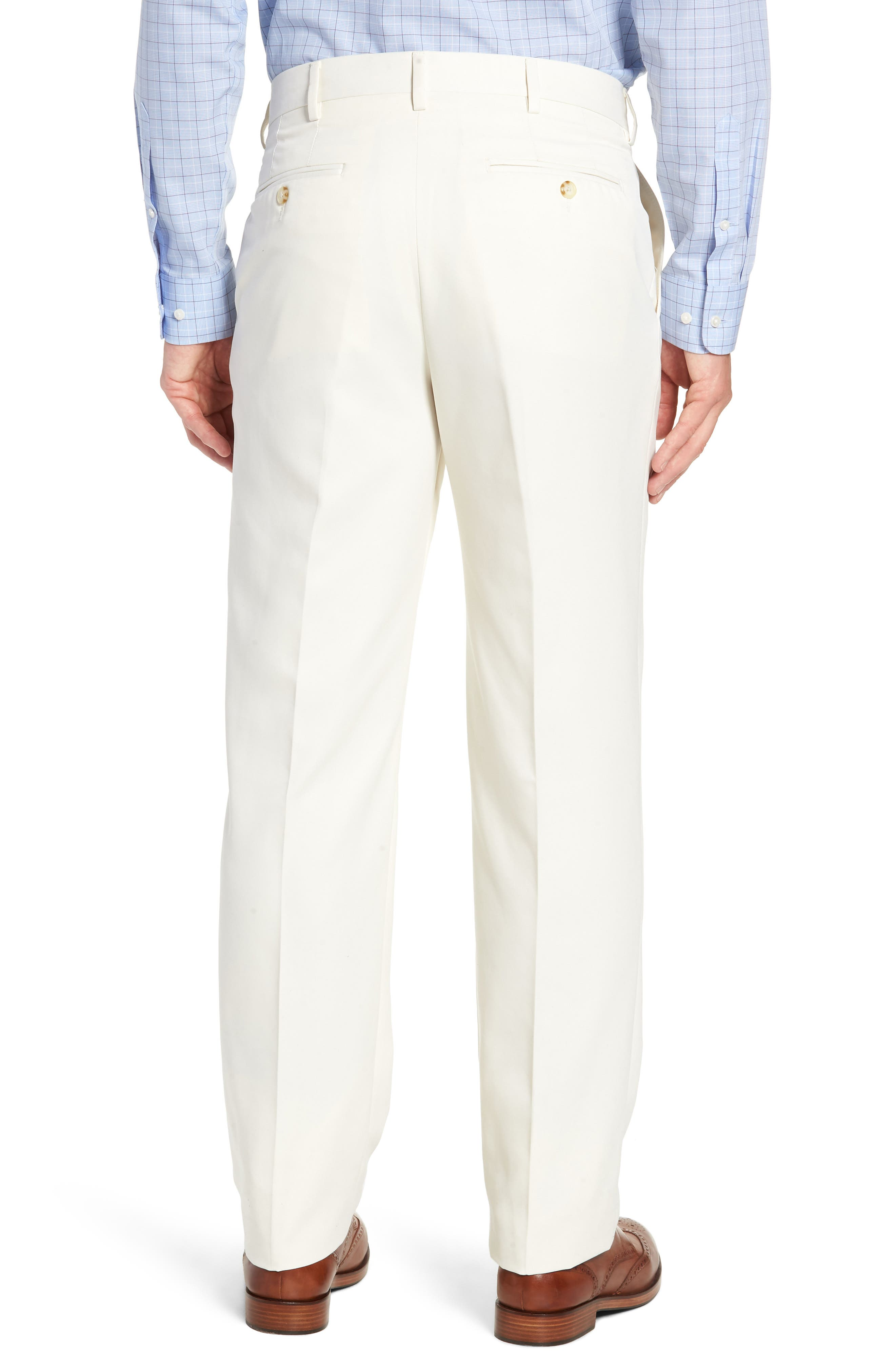 Classic Fit Flat Front Microfiber Performance Trousers,                             Alternate thumbnail 2, color,                             OFF WHITE