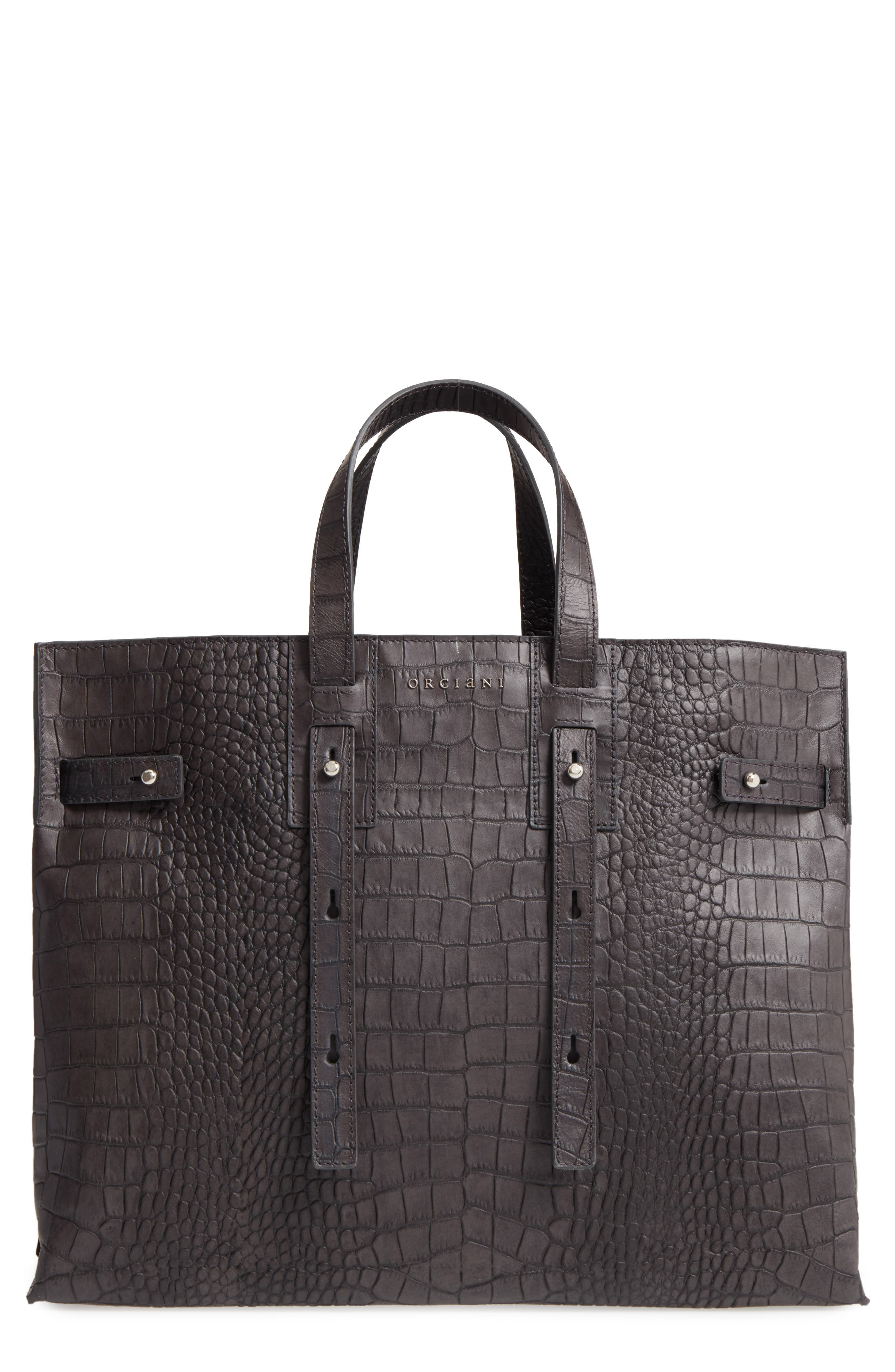 Petra Croc-Embossed Calfskin Leather Tote,                             Main thumbnail 1, color,                             020