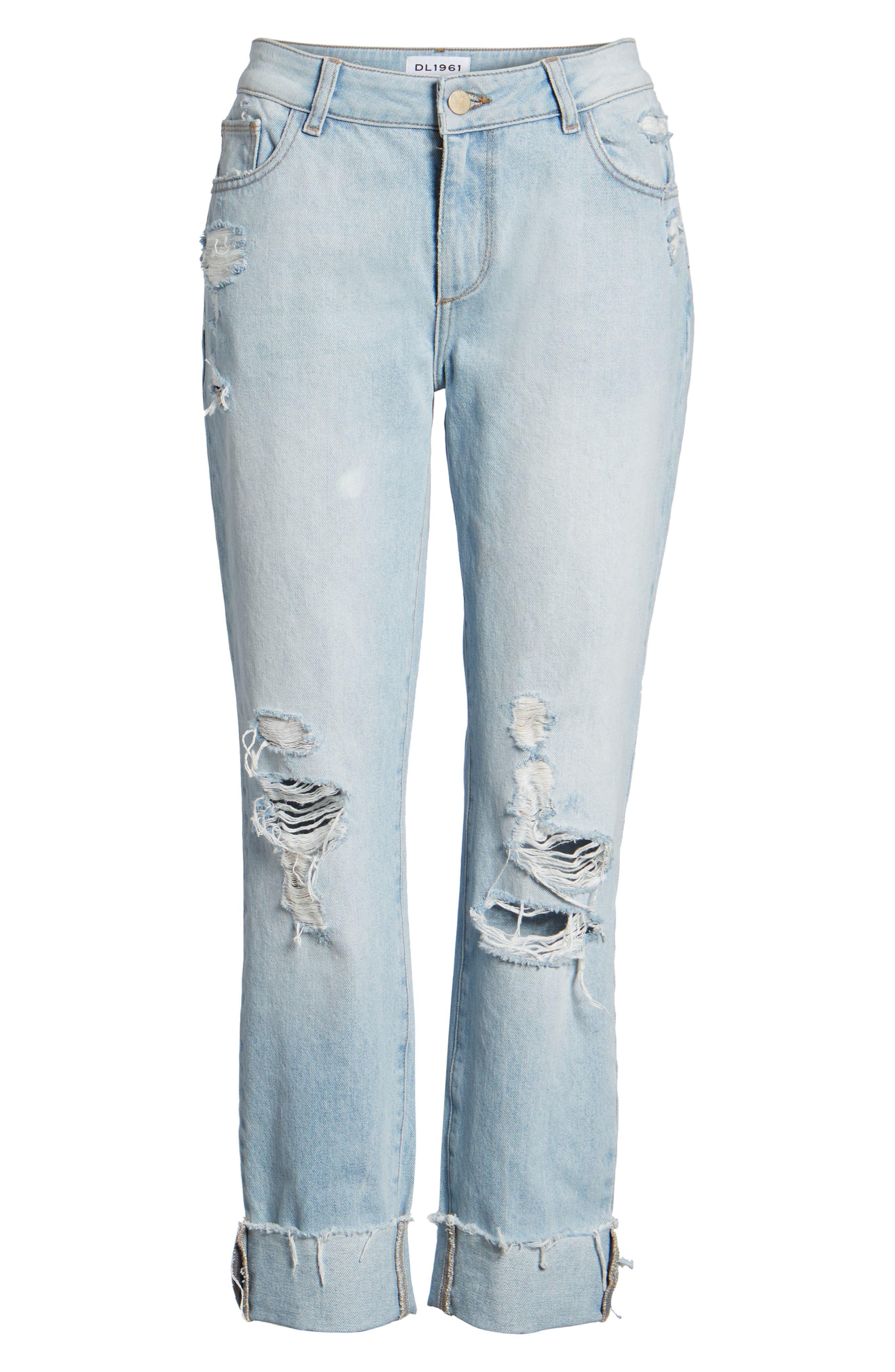 Stevie Ripped Crop Slim Boyfriend Jeans,                             Alternate thumbnail 7, color,                             425