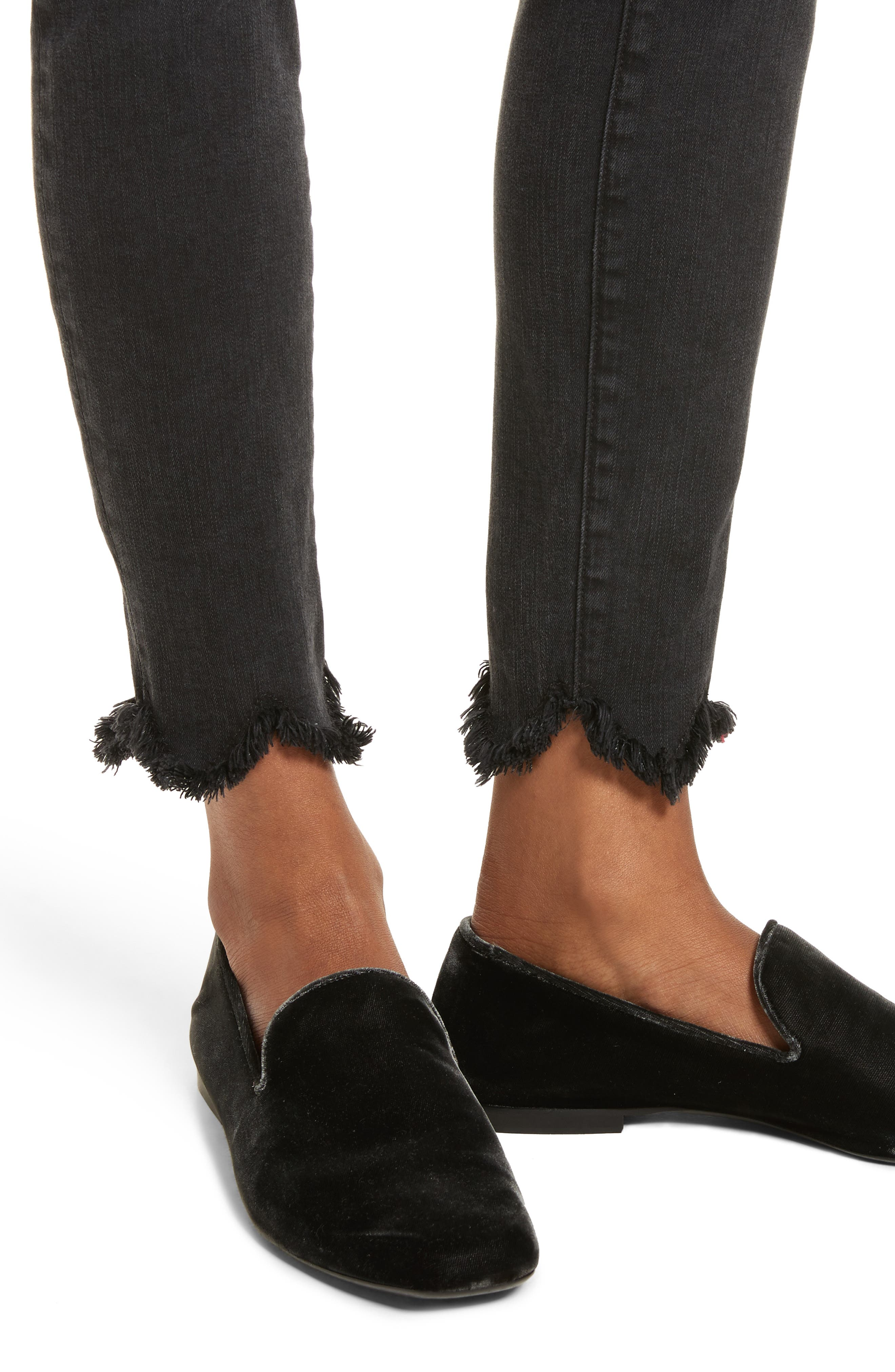 Le High Frayed Ankle Skinny Jeans,                             Alternate thumbnail 4, color,