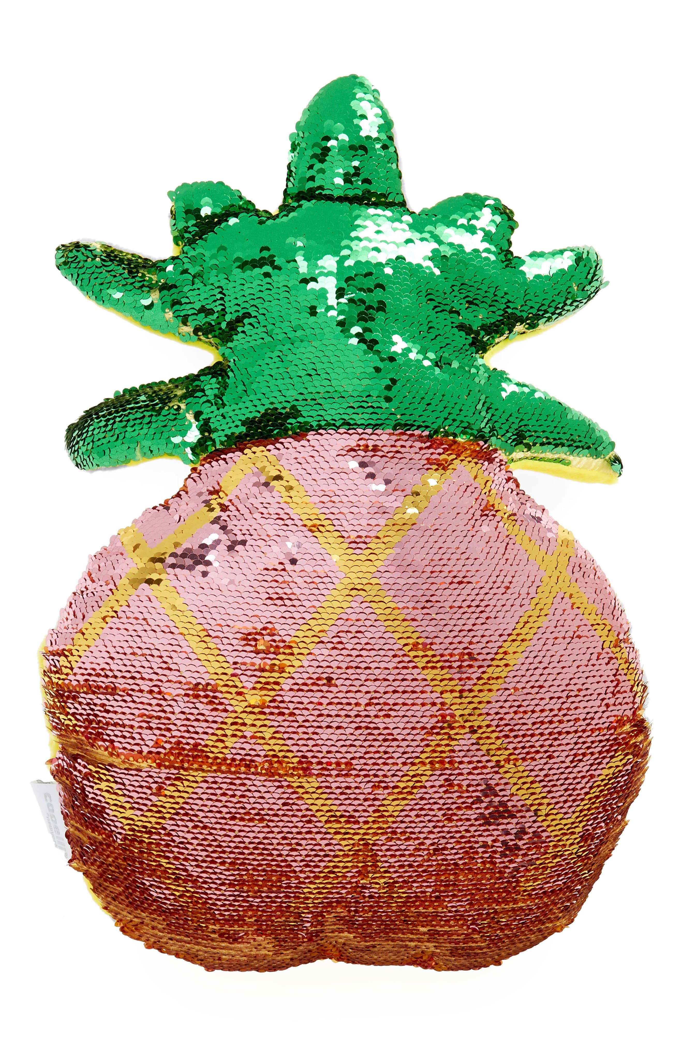 CAPELLI NEW YORK,                             Flip Sequin Pineapple Pillow,                             Alternate thumbnail 3, color,                             710