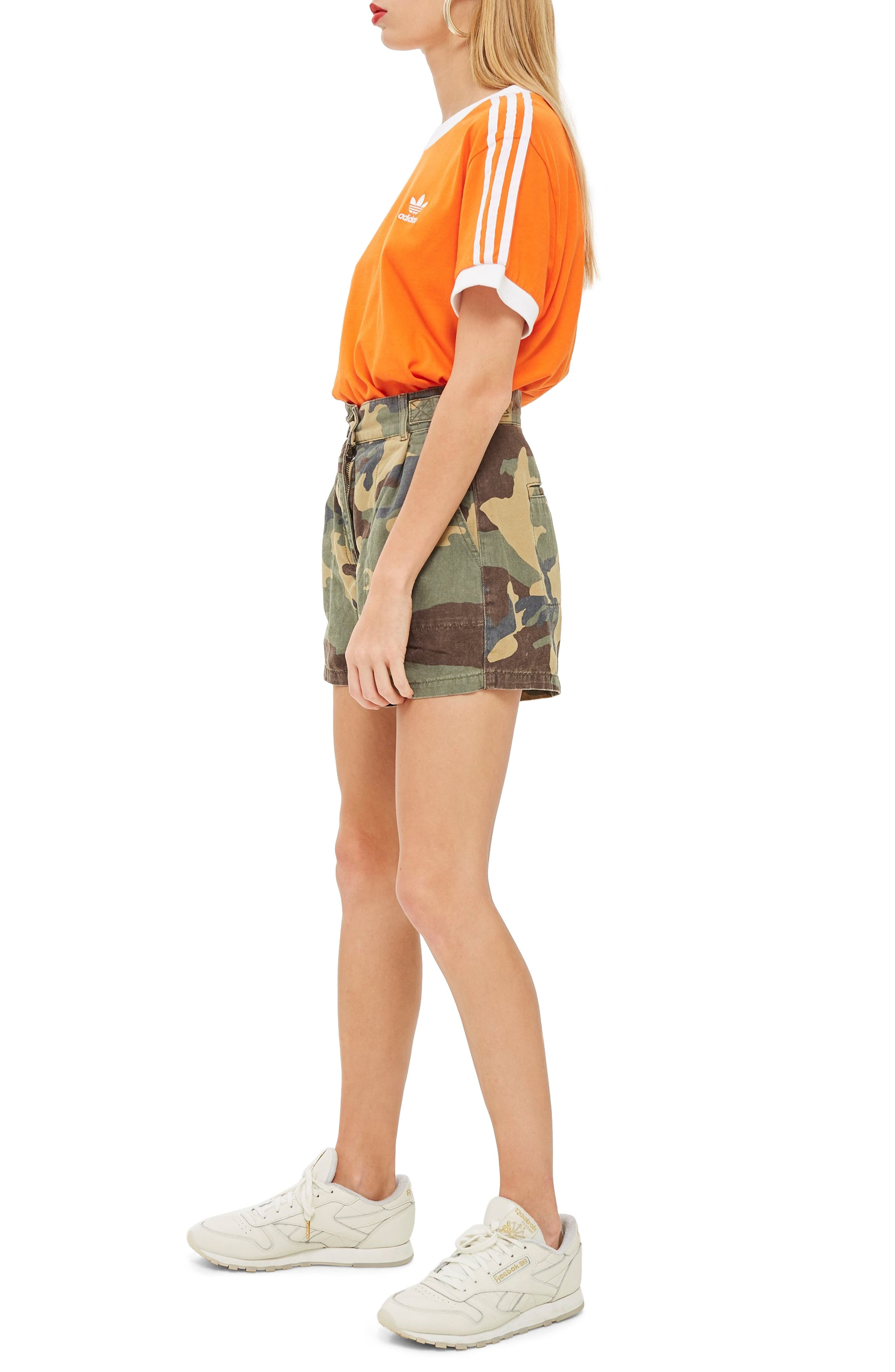 TOPSHOP,                             Camo Print Utility Shorts,                             Alternate thumbnail 3, color,                             300