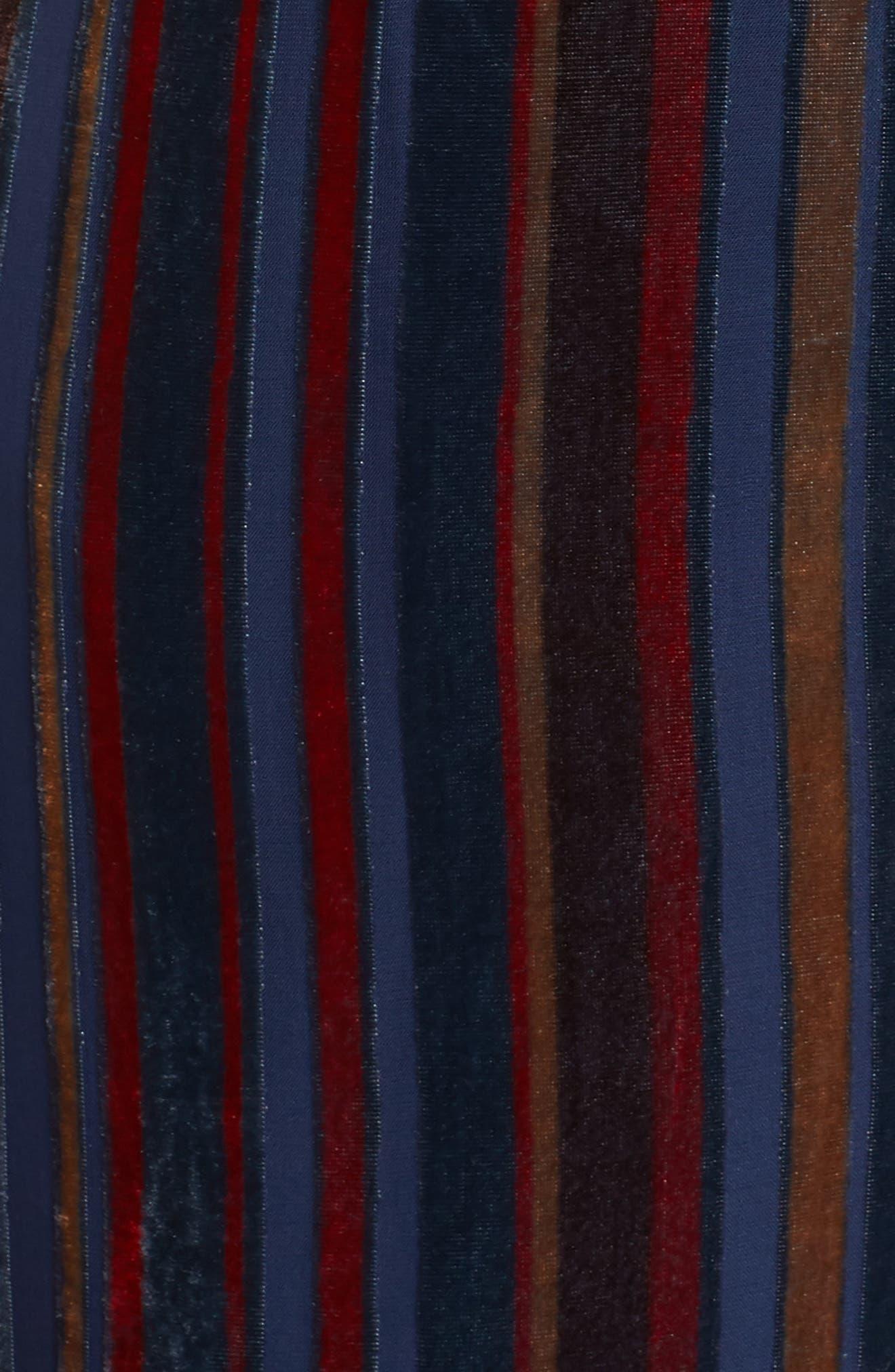 Stripe Velvet Jumpsuit,                             Alternate thumbnail 6, color,                             NAVY MULTI