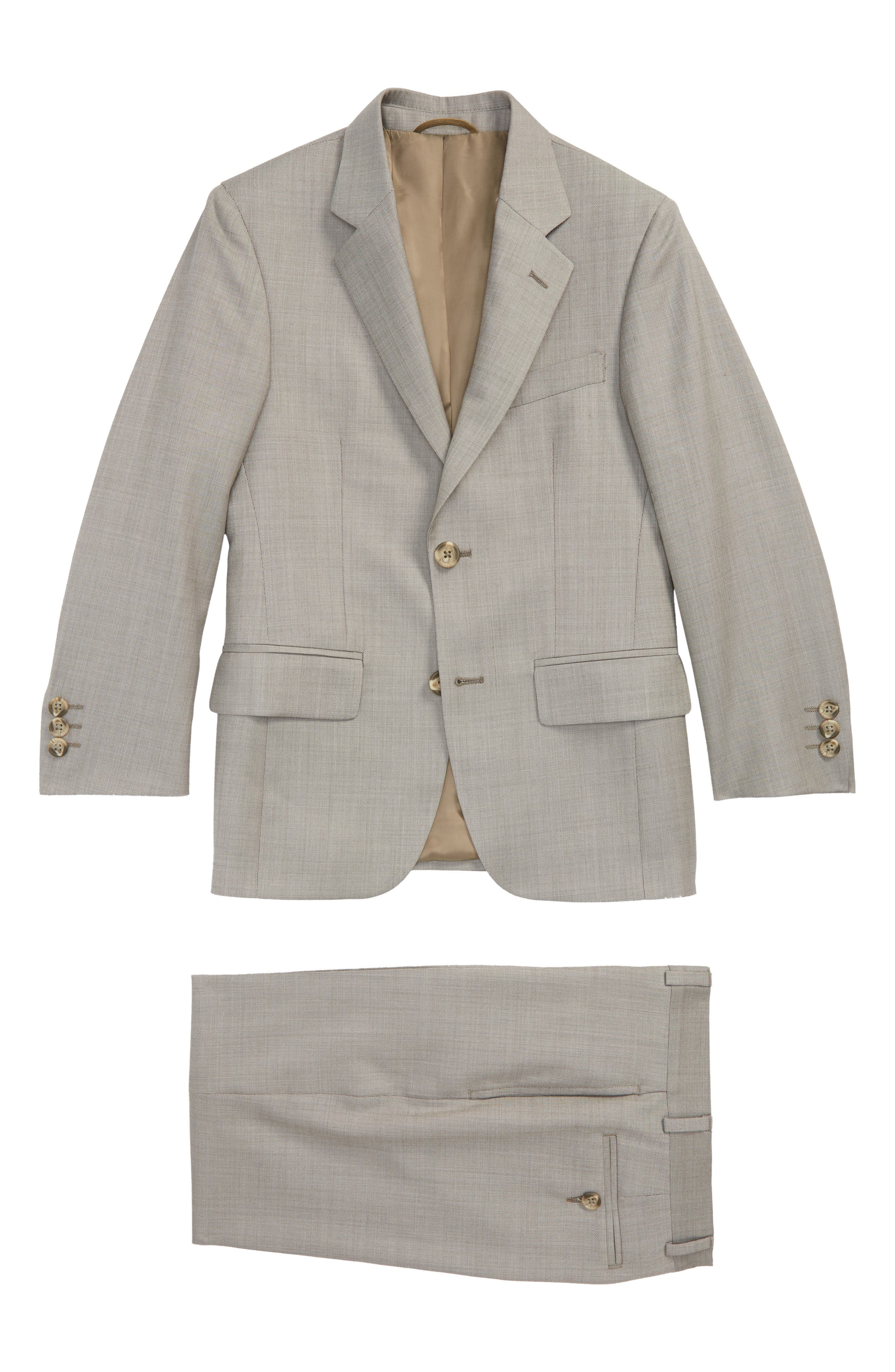 Two-Piece Wool Suit,                         Main,                         color, TAN