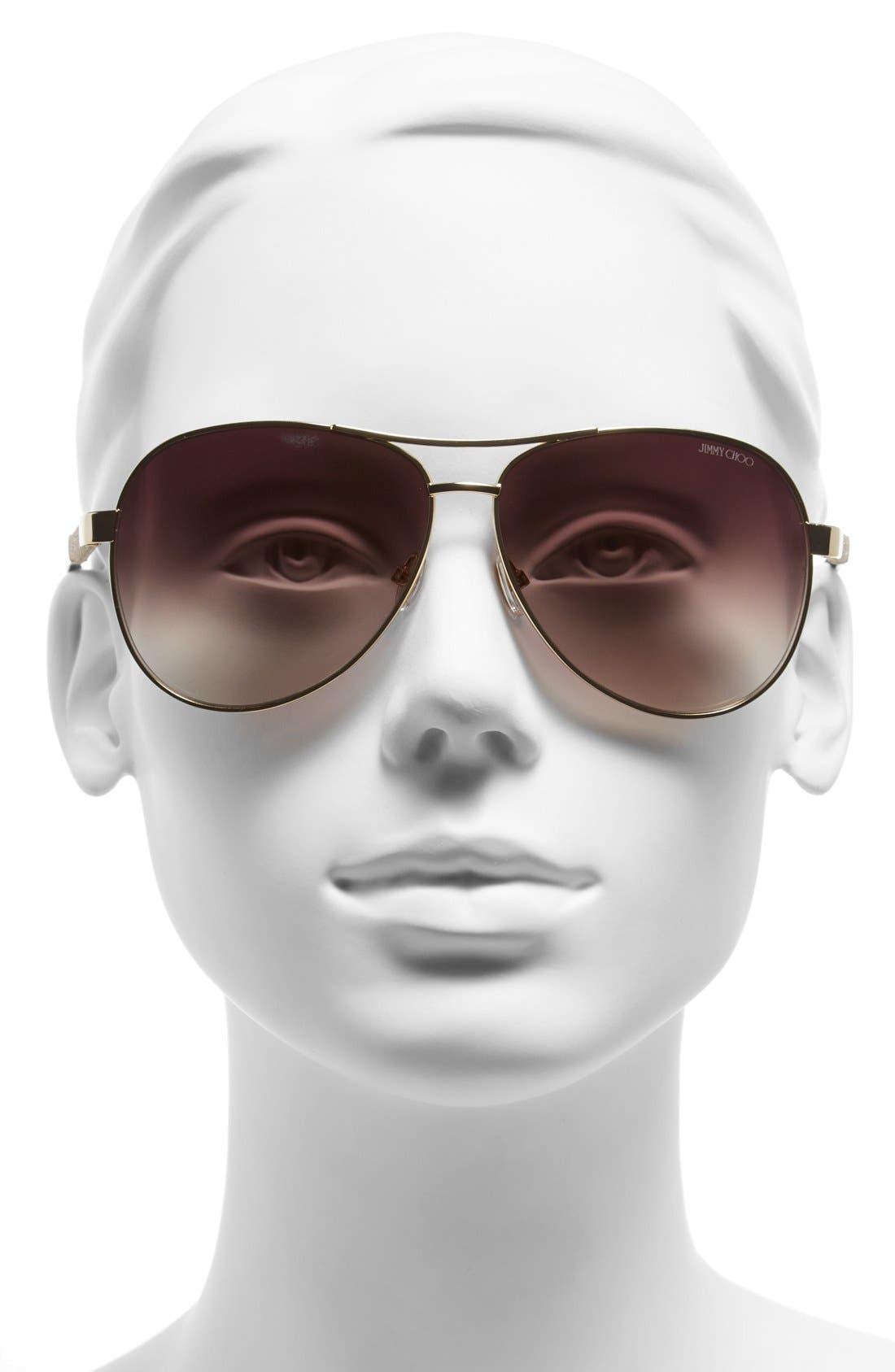 61mm Aviator Sunglasses,                             Alternate thumbnail 6, color,