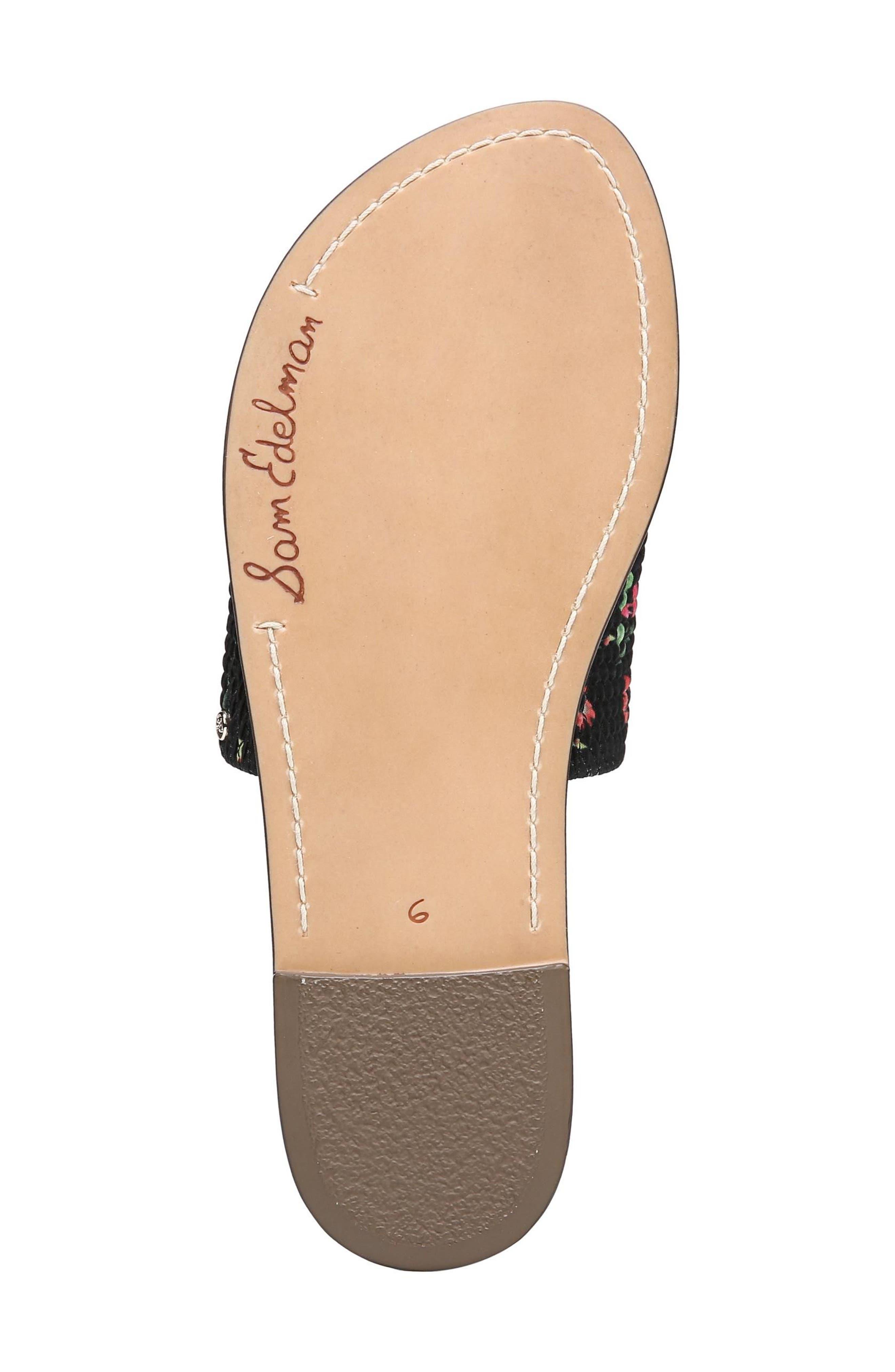 Gio Slide Sandal,                             Alternate thumbnail 6, color,                             BLACK FLORAL PRINT FABRIC