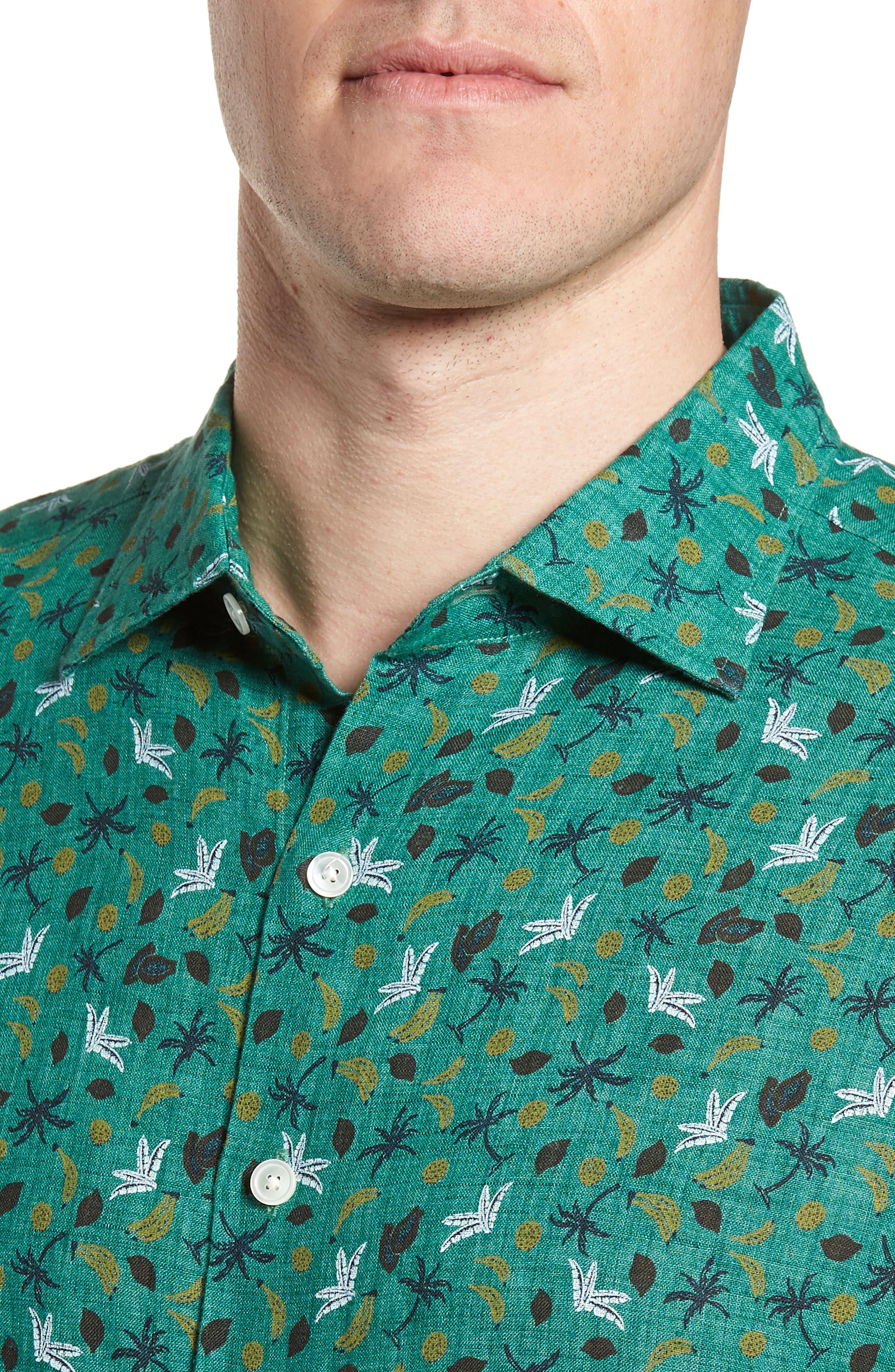 Canoe Creek Tropical Print Linen Sport Shirt,                             Alternate thumbnail 4, color,                             321