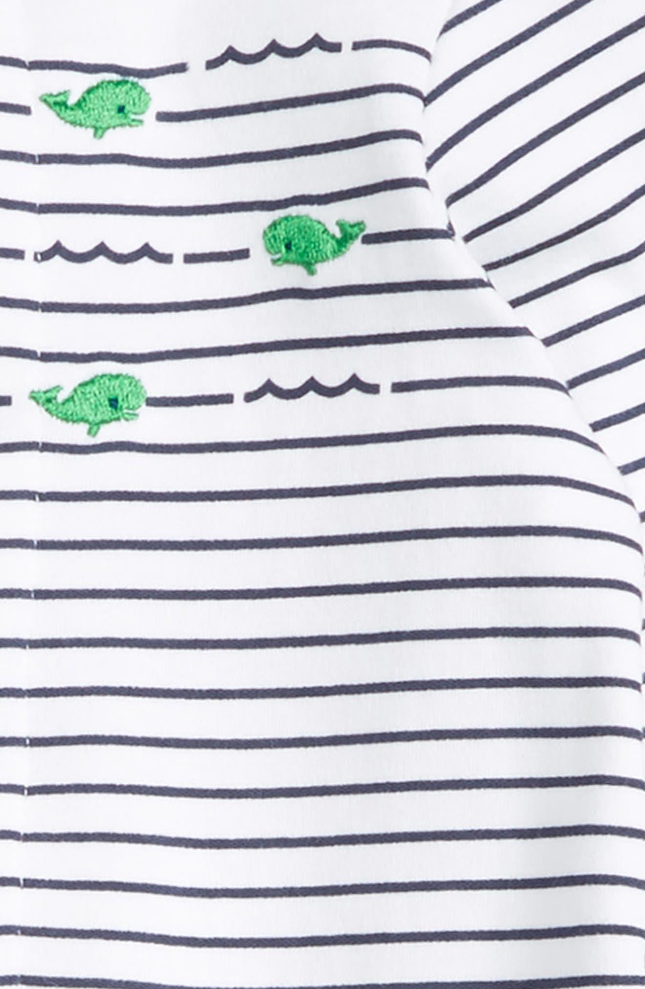 Whale Stripe Footie & Beanie Set,                             Alternate thumbnail 2, color,                             469