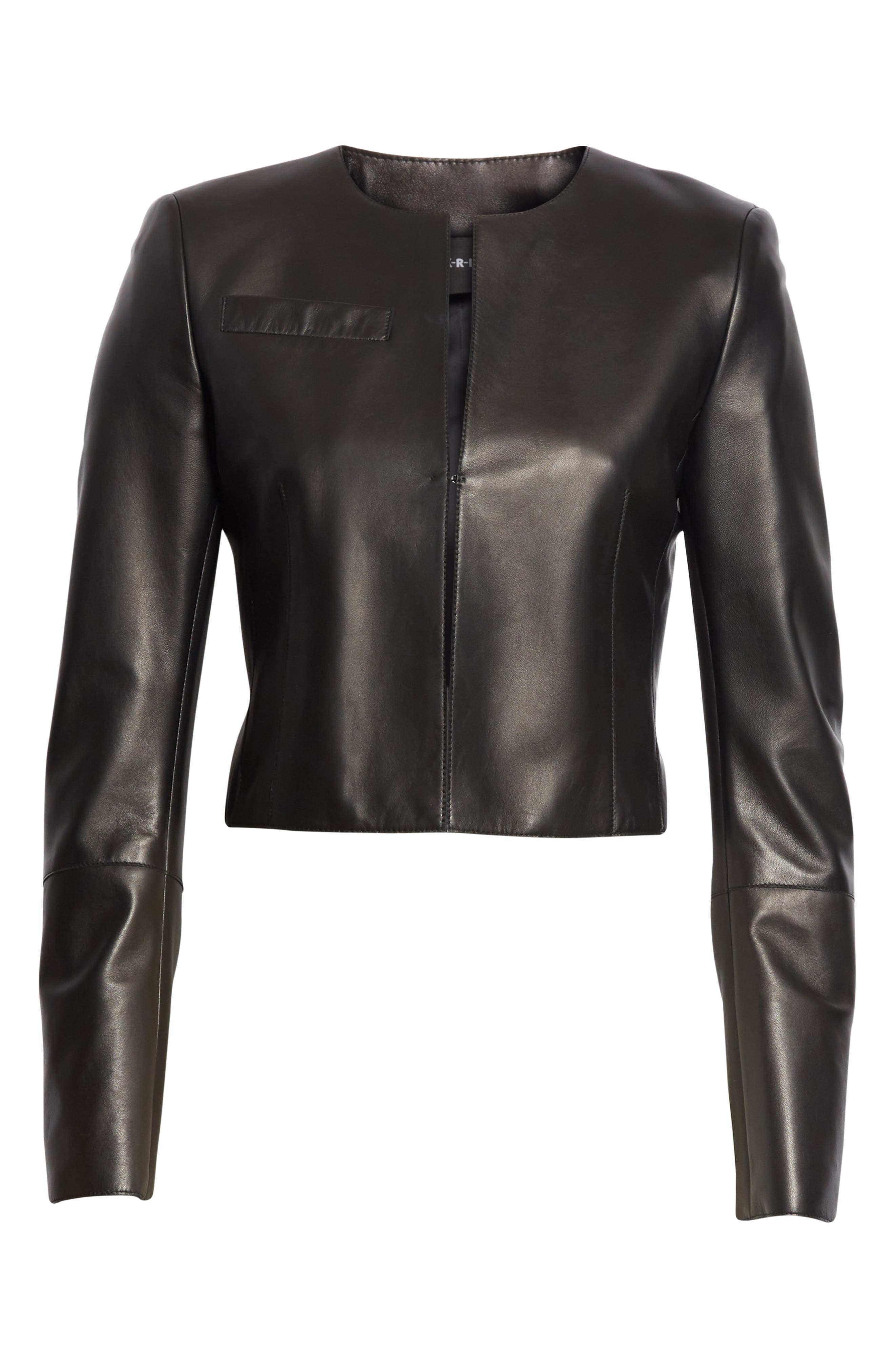 'Hasso' Leather Crop Jacket,                             Alternate thumbnail 6, color,                             BLACK