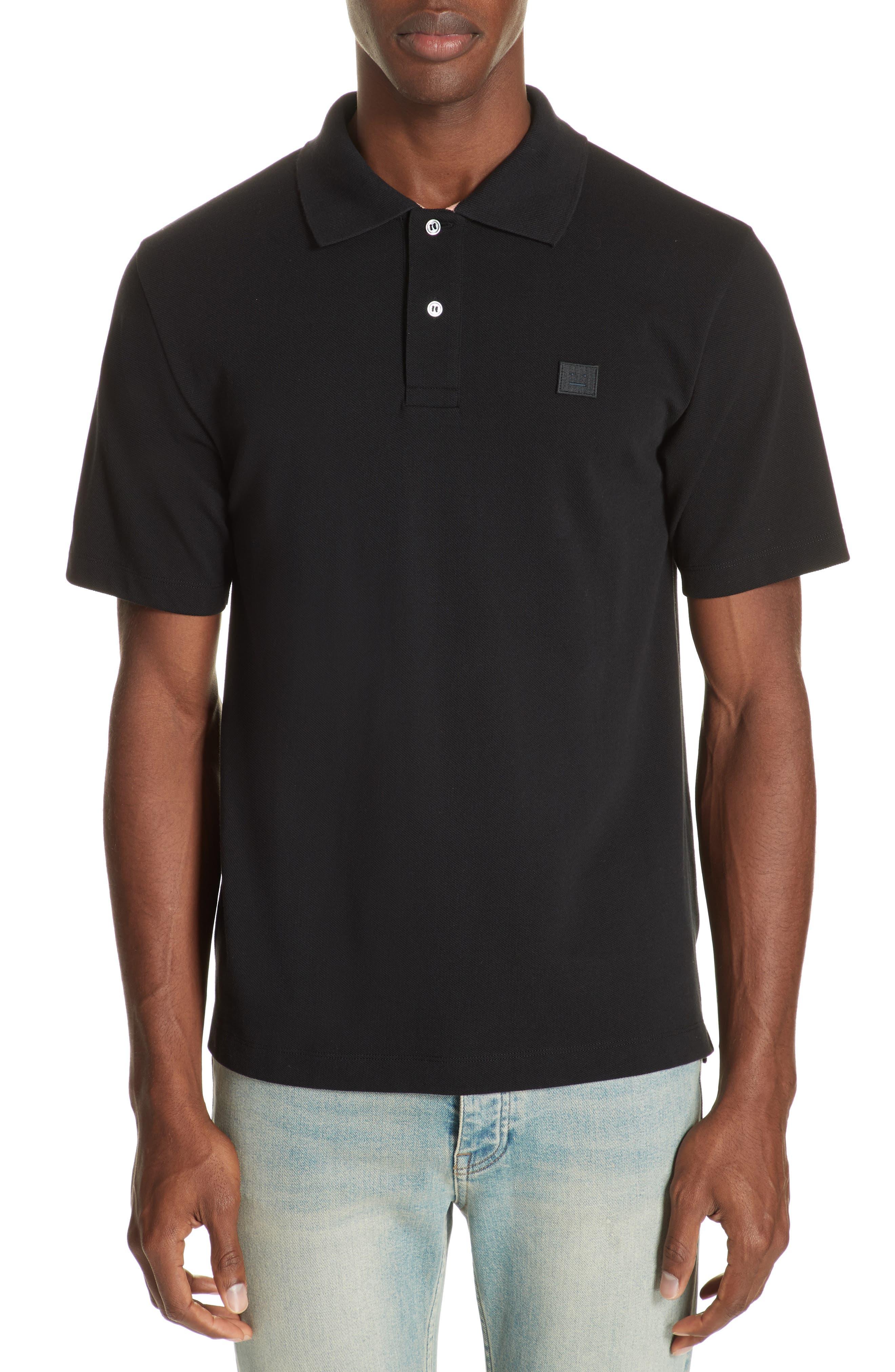 Newark Face Polo,                         Main,                         color, BLACK / PALE PINK