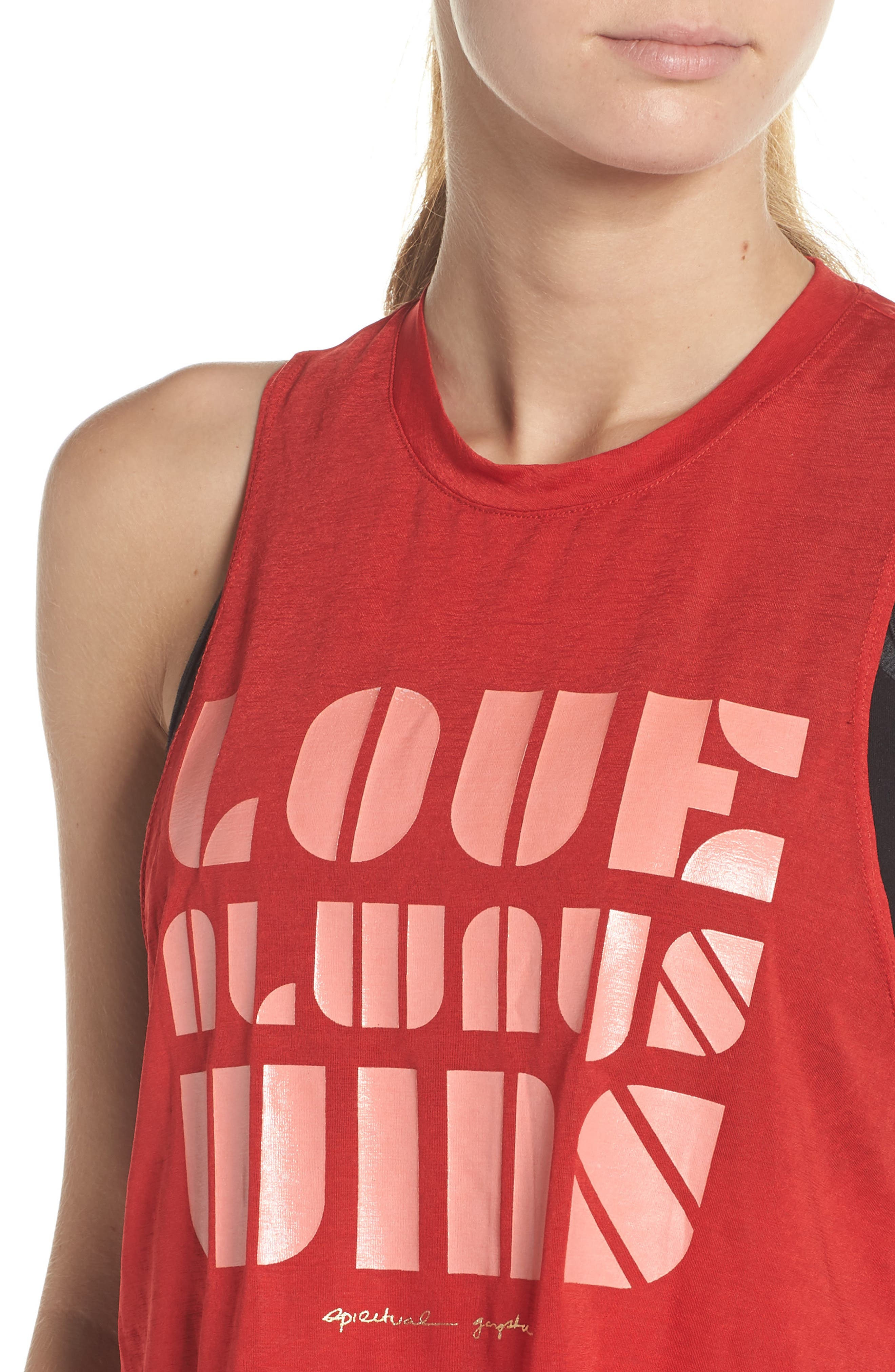 Spritual Gangster Love Always Wins Crop Tank,                             Alternate thumbnail 4, color,                             LOVE RED