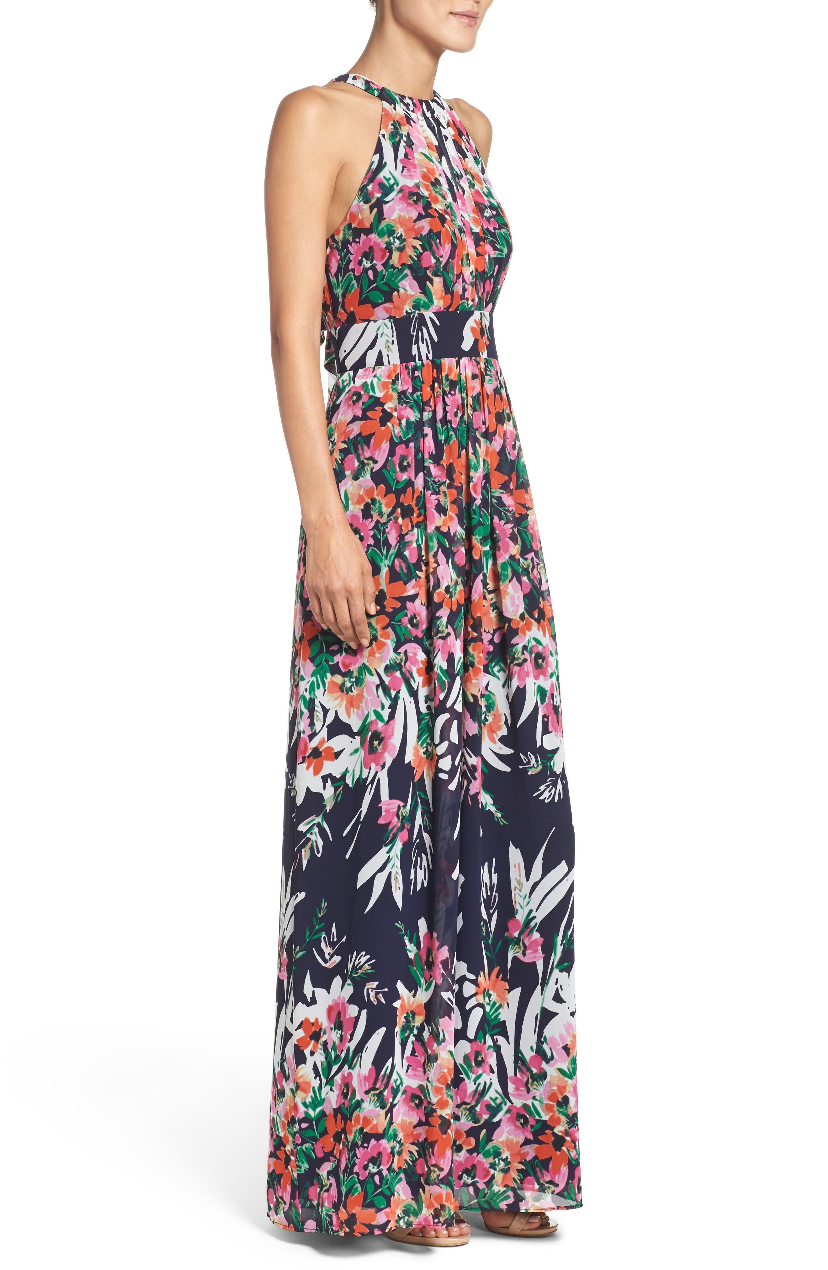 Print Chiffon Halter Maxi Dress,                             Alternate thumbnail 3, color,