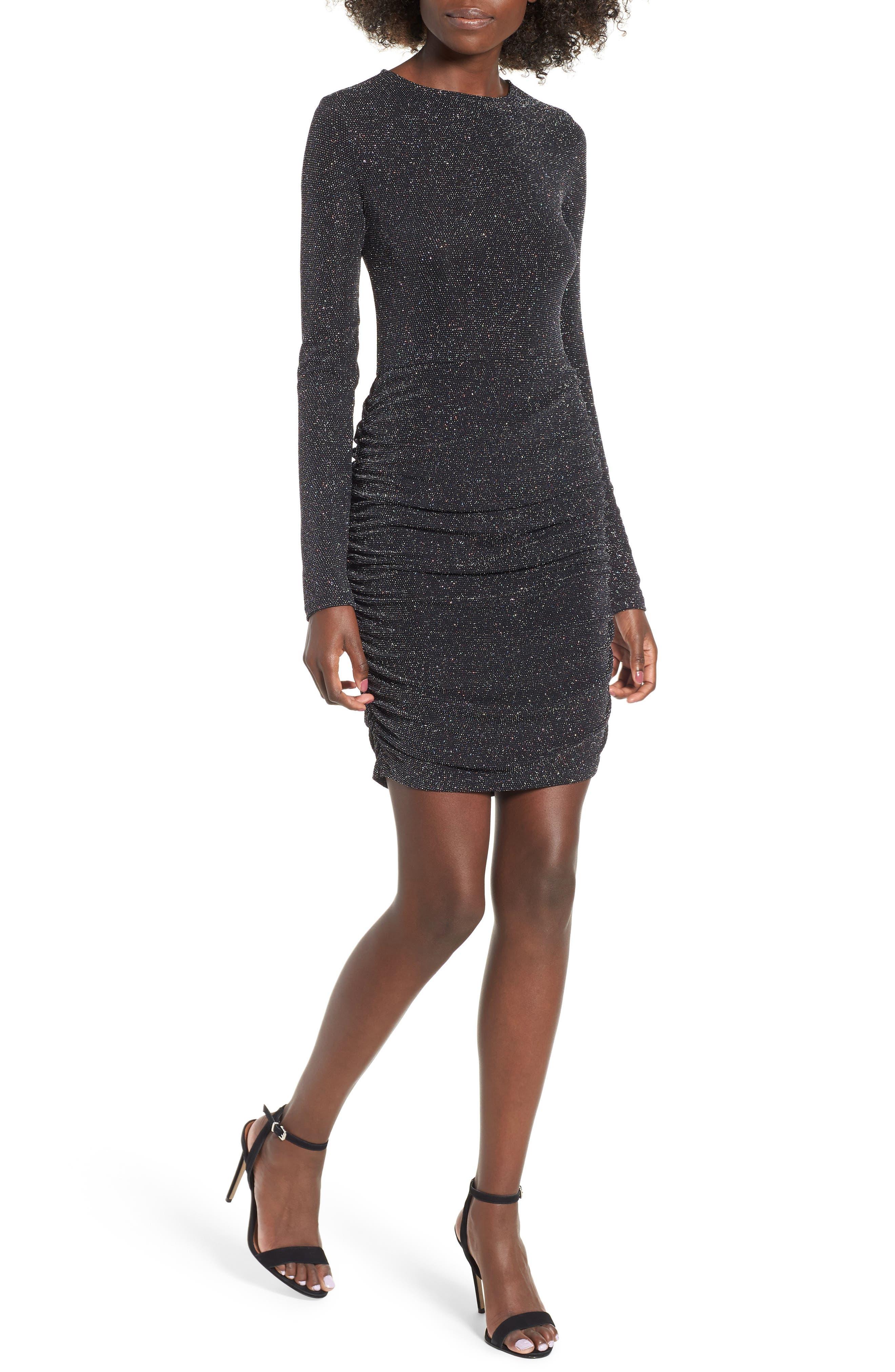 Leith Shine Minidress, Black