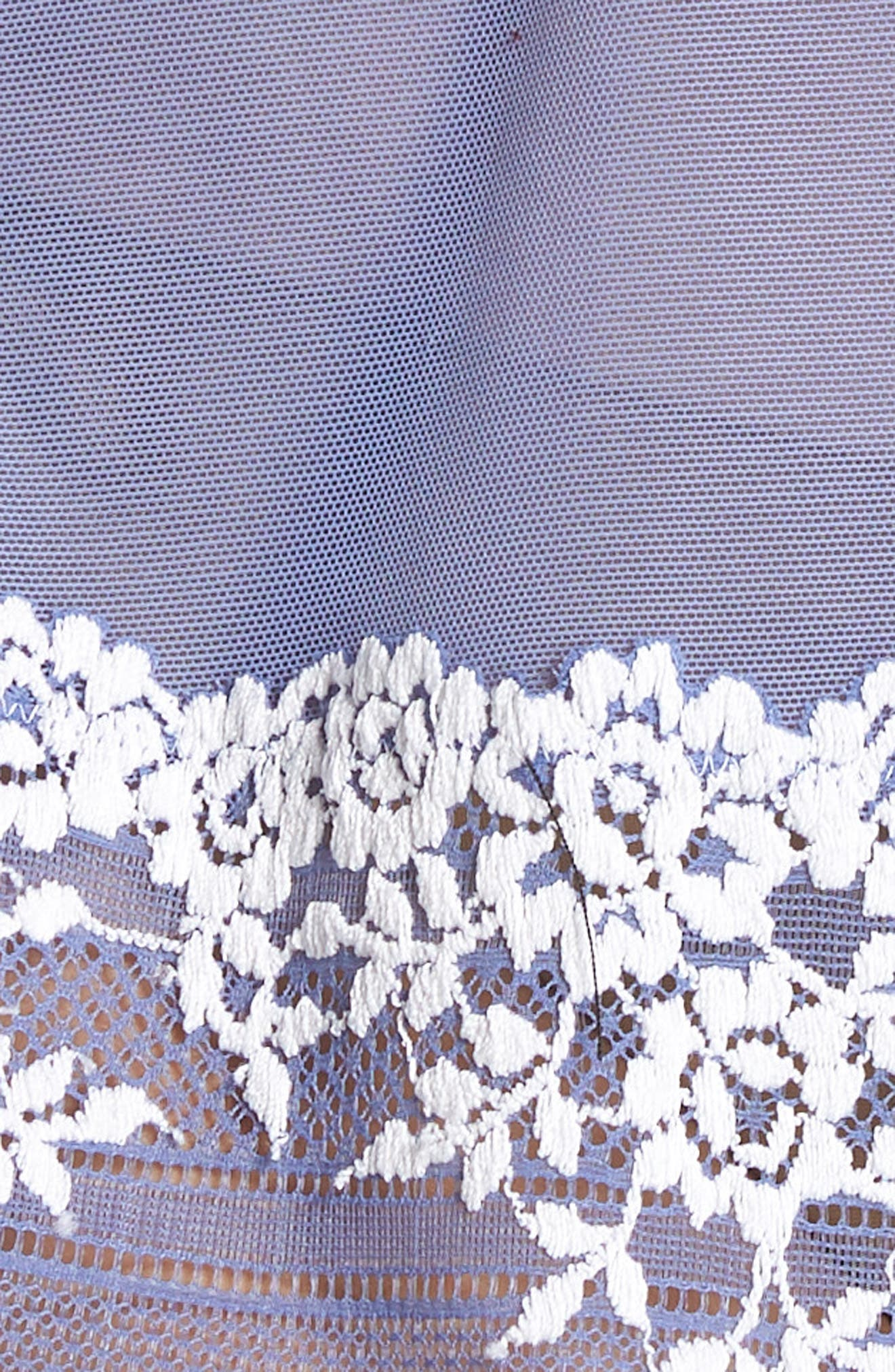 'Embrace' Lace & Mesh Chemise,                             Alternate thumbnail 5, color,                             BLEACHED DENIM / WHITE