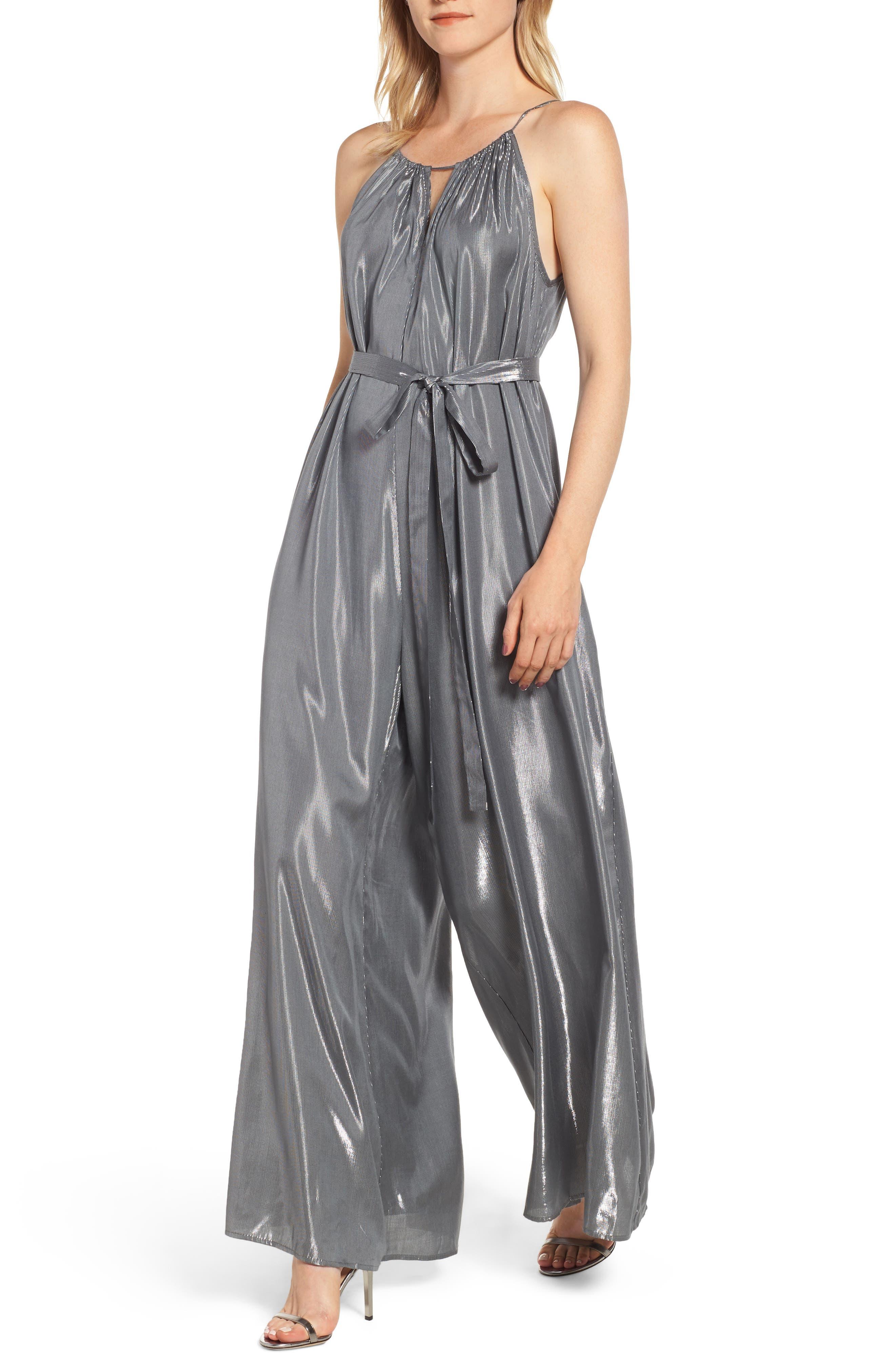 1960s – 70s Cocktail, Party, Prom, Evening Dresses Womens Velvet By Graham  Spencer Lame Halter Jumpsuit Size X-Large - Metallic $249.00 AT vintagedancer.com