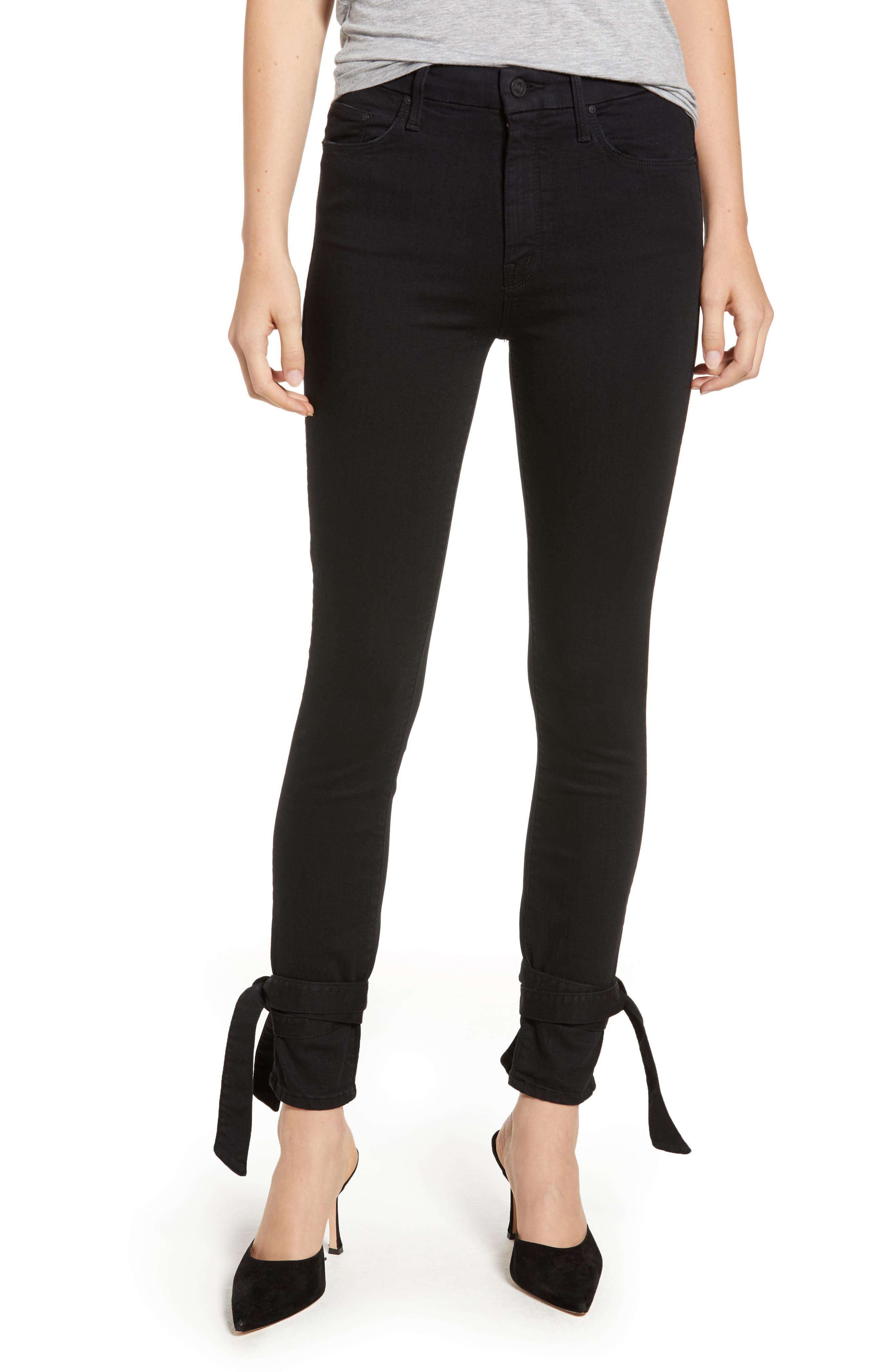 The Looker High Waist Bow Ankle Skinny Jeans, Main, color, 001
