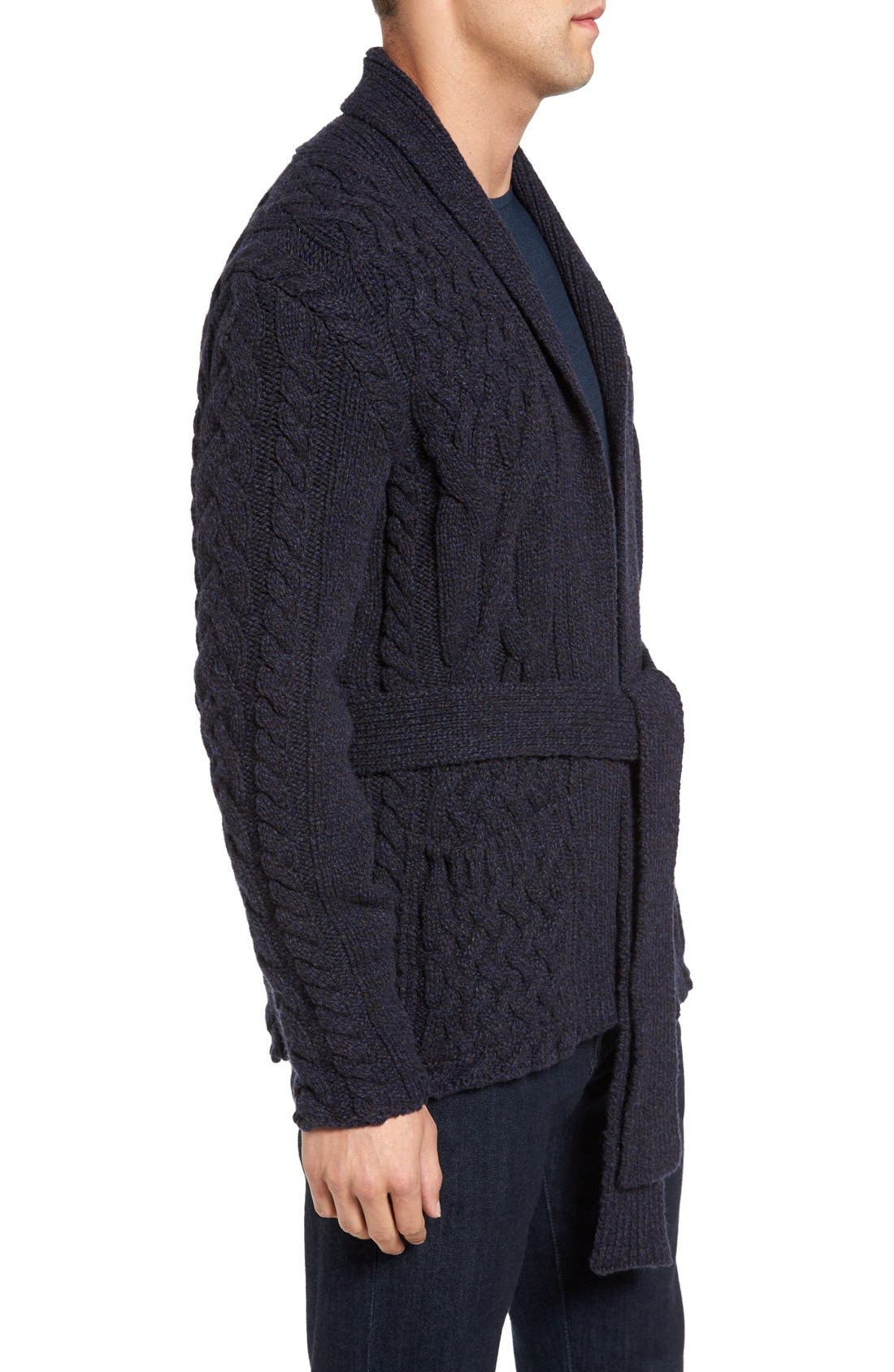 EIDOS,                             Napoli Cable Knit Wool Cardigan,                             Alternate thumbnail 7, color,                             405