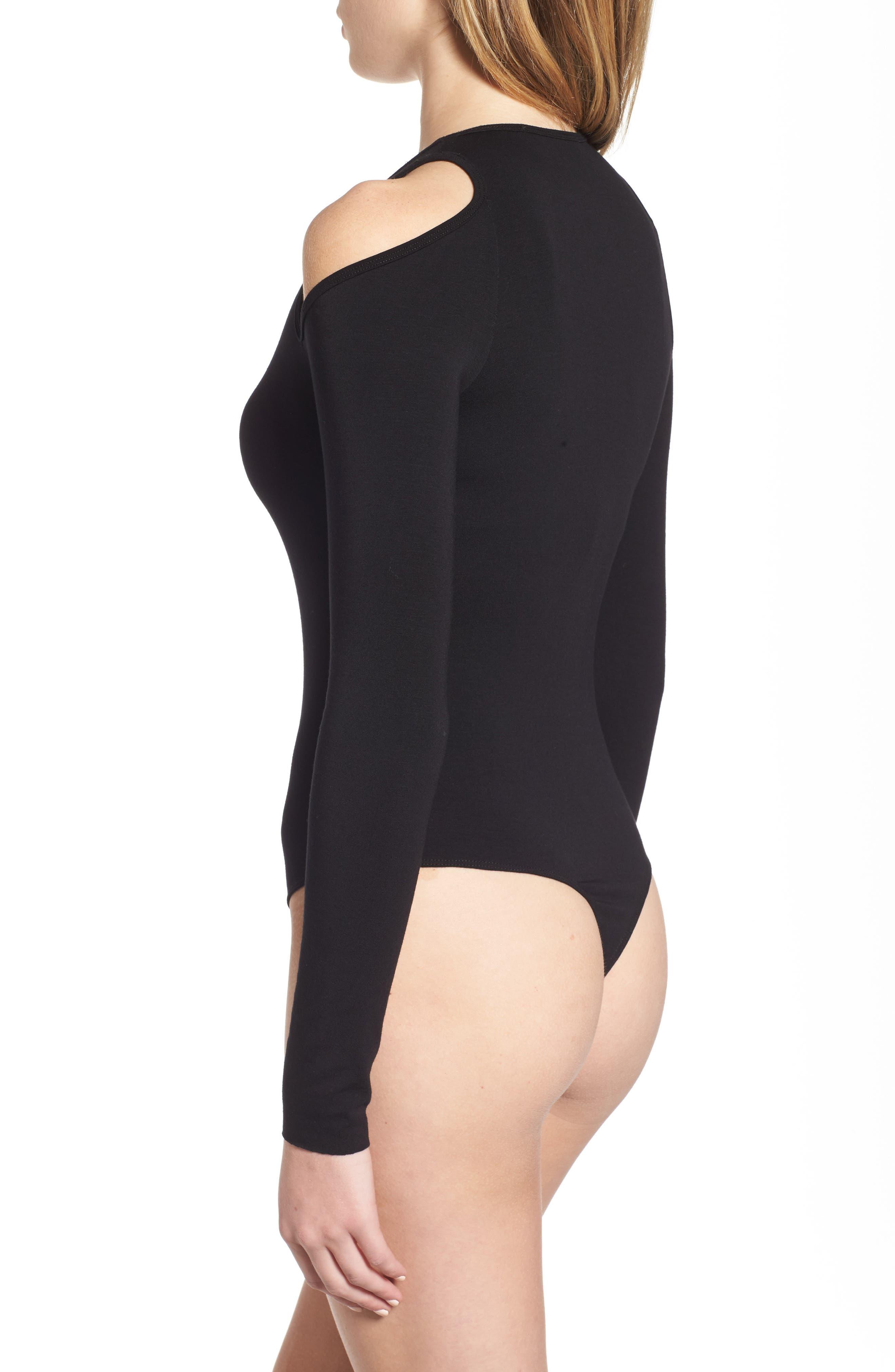 Patricia Cold Shoulder Bodysuit,                             Alternate thumbnail 3, color,                             001