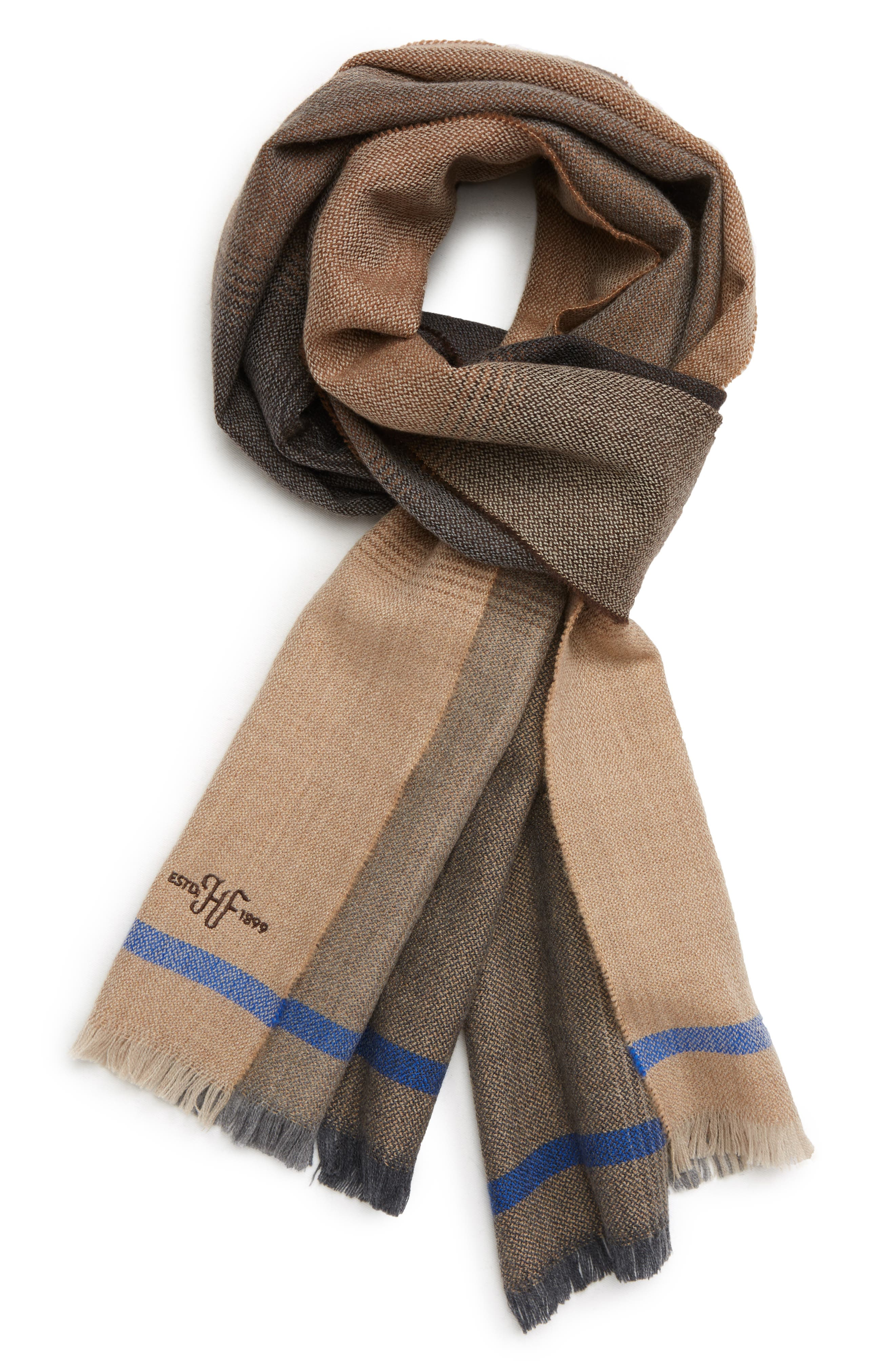 Ombré Colorblock Merino Wool Scarf,                             Main thumbnail 1, color,                             BROWN