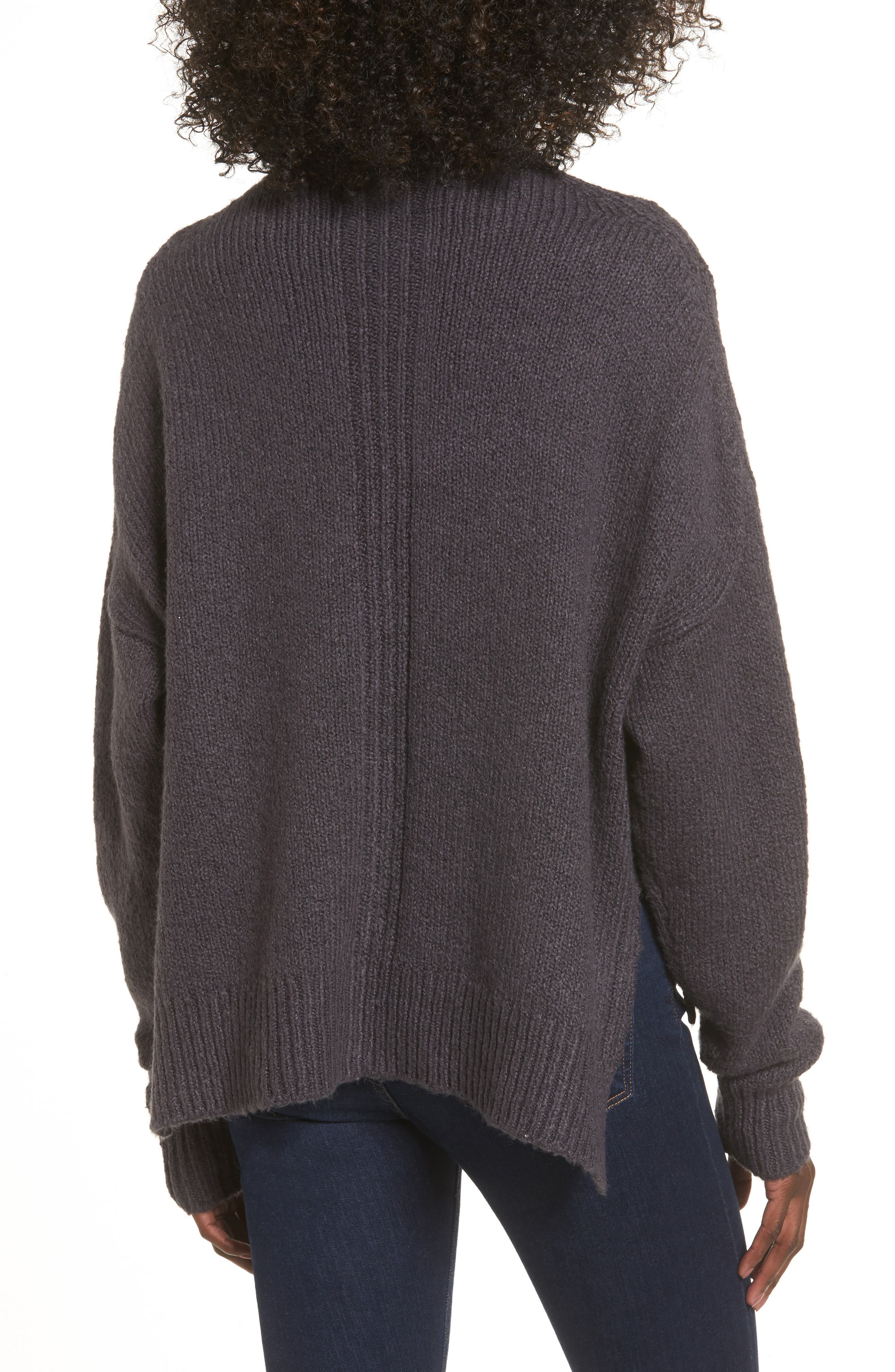 Fuzzy Side Slit Sweater,                             Alternate thumbnail 4, color,