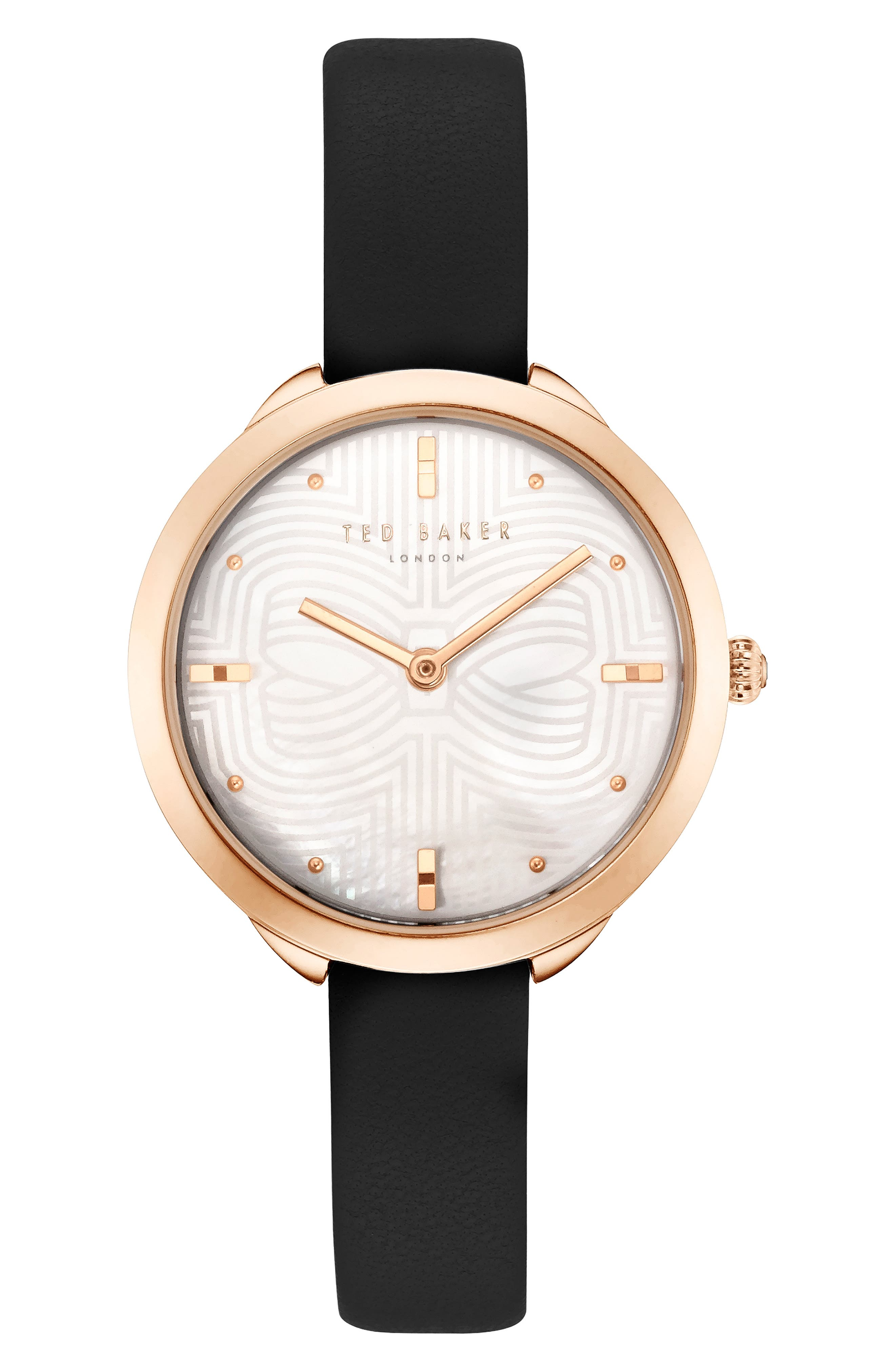 Elena Leather Strap Watch, 30mm,                         Main,                         color, BLACK/ MOP/ ROSE GOLD