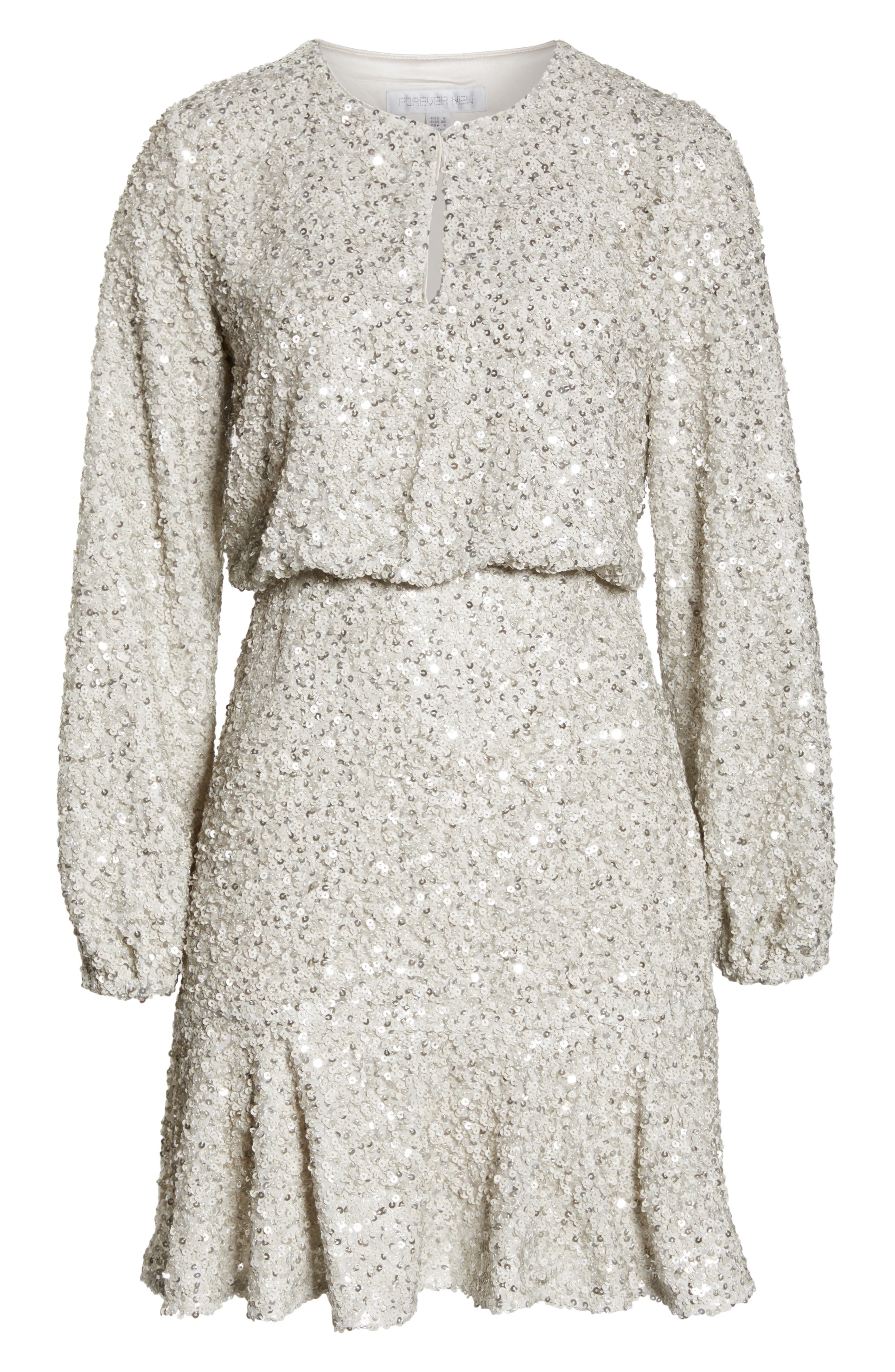 Sequin Ruffle Hem Dress,                             Alternate thumbnail 7, color,                             SILVER