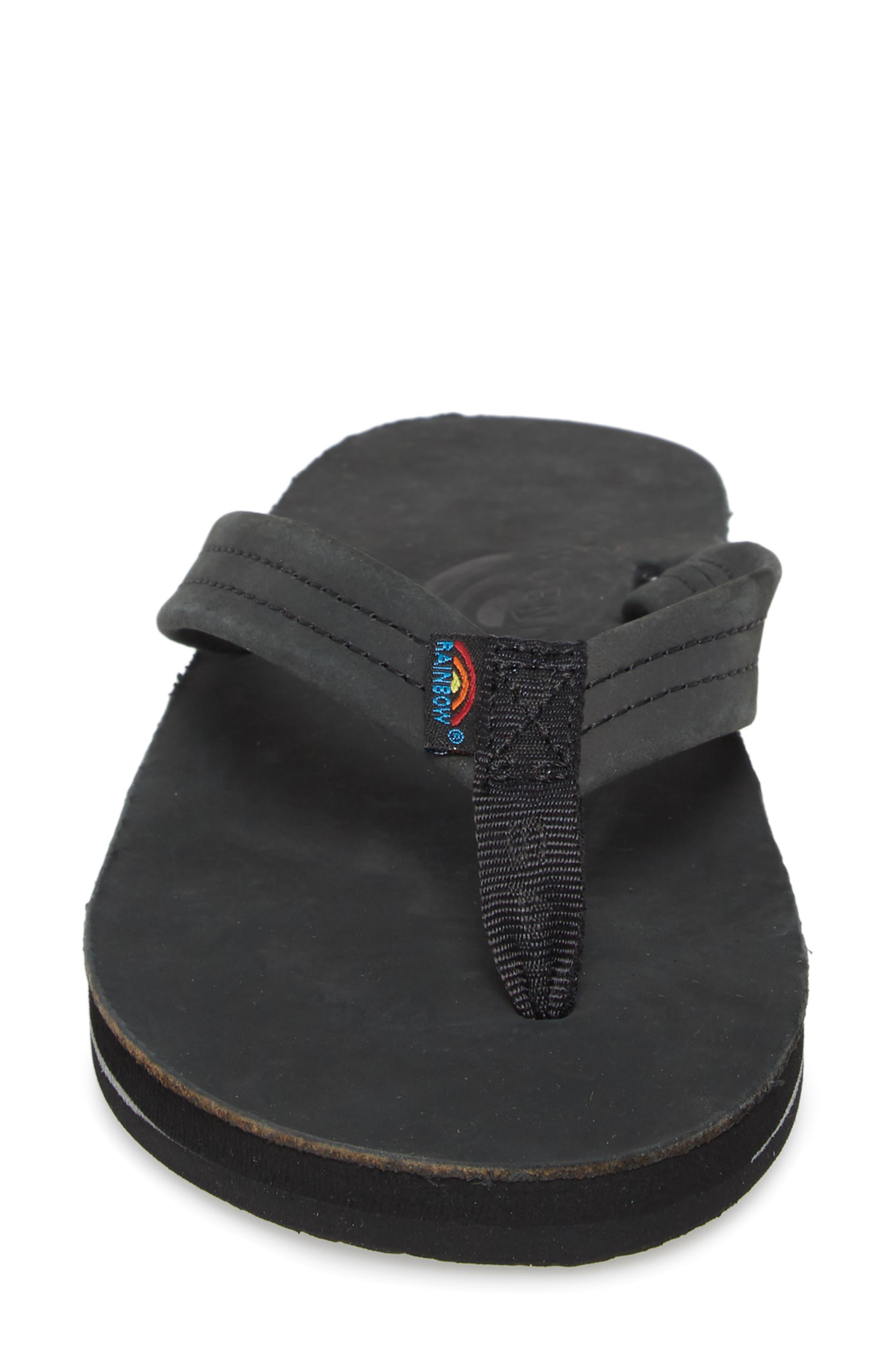 RAINBOW<SUP>®</SUP>,                             Rainbow Double Layer Leather Flip Flop,                             Alternate thumbnail 4, color,                             001