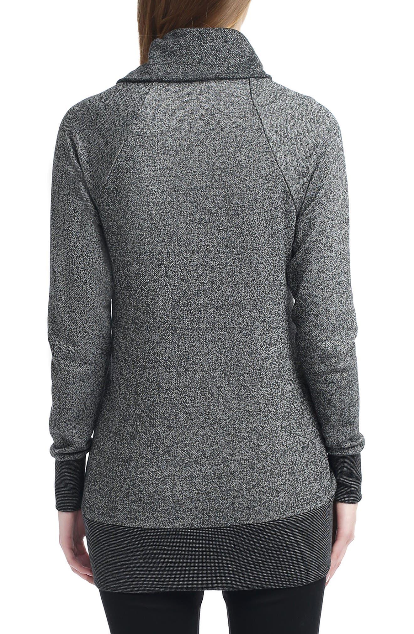 Alaina Envelope Collar Sweater,                             Alternate thumbnail 2, color,                             BLACK/ GRAY