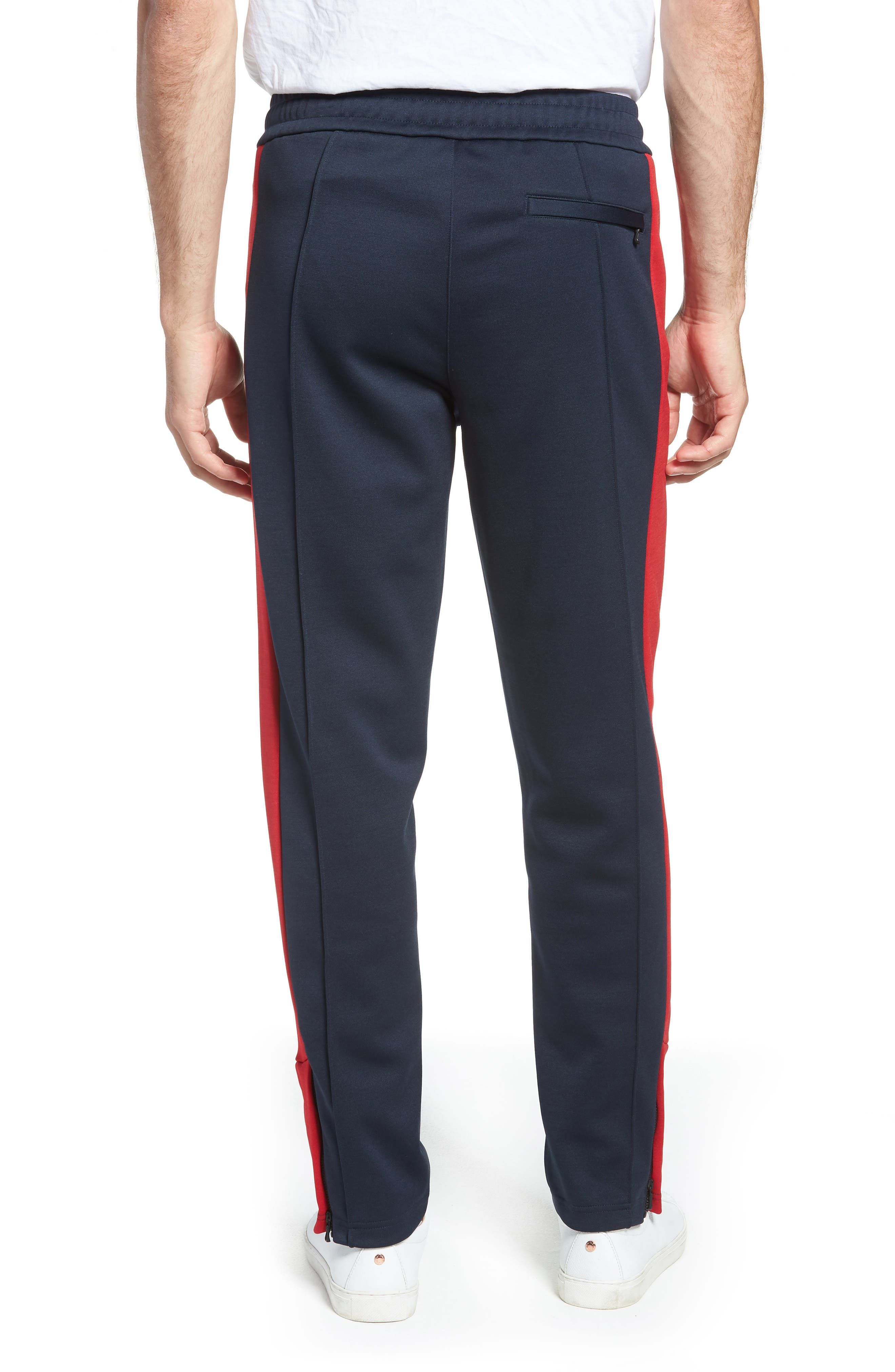 Club Slim Fit Track Pants,                             Alternate thumbnail 2, color,                             NAVY/ RED