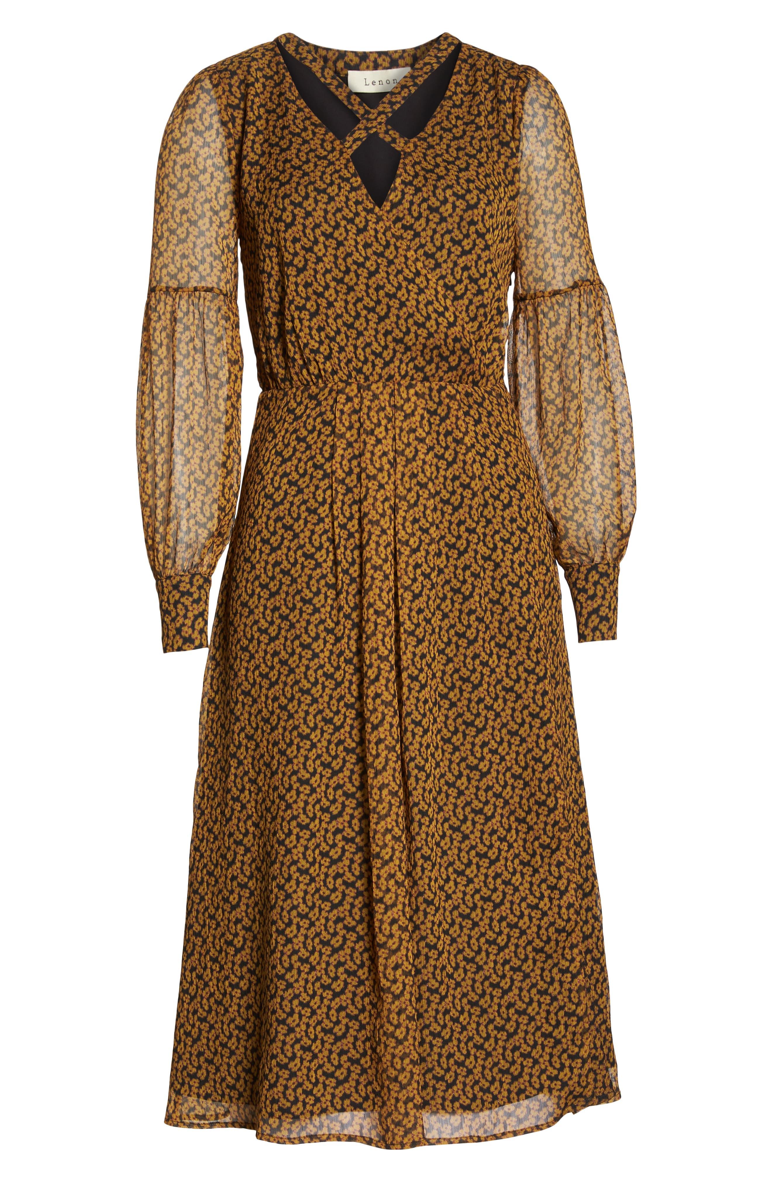 Floral Print Side Slit Midi Dress,                             Alternate thumbnail 7, color,                             MARIGOLD