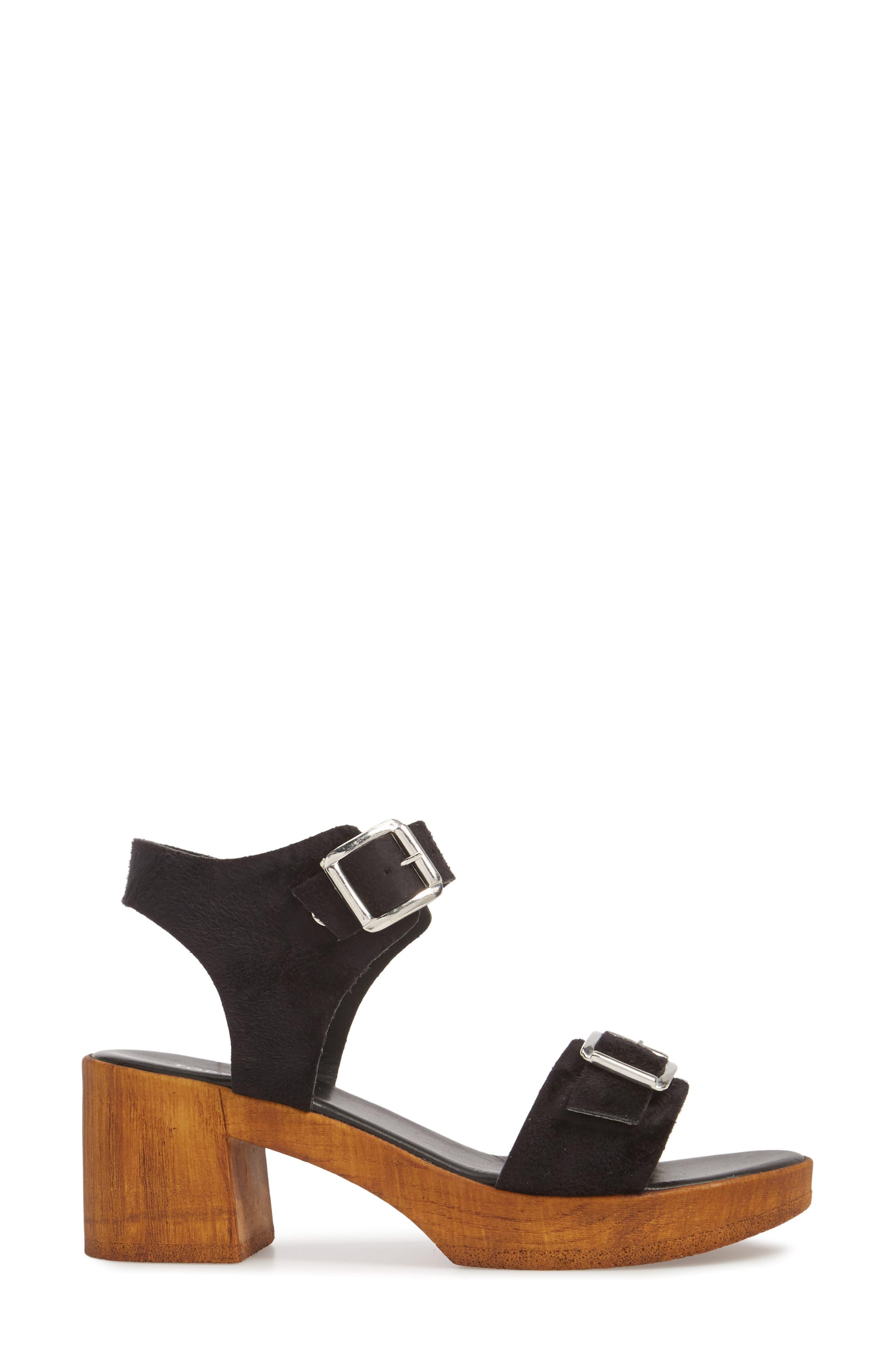 Buckle Platform Sandal,                             Alternate thumbnail 3, color,                             BLACK MULTI