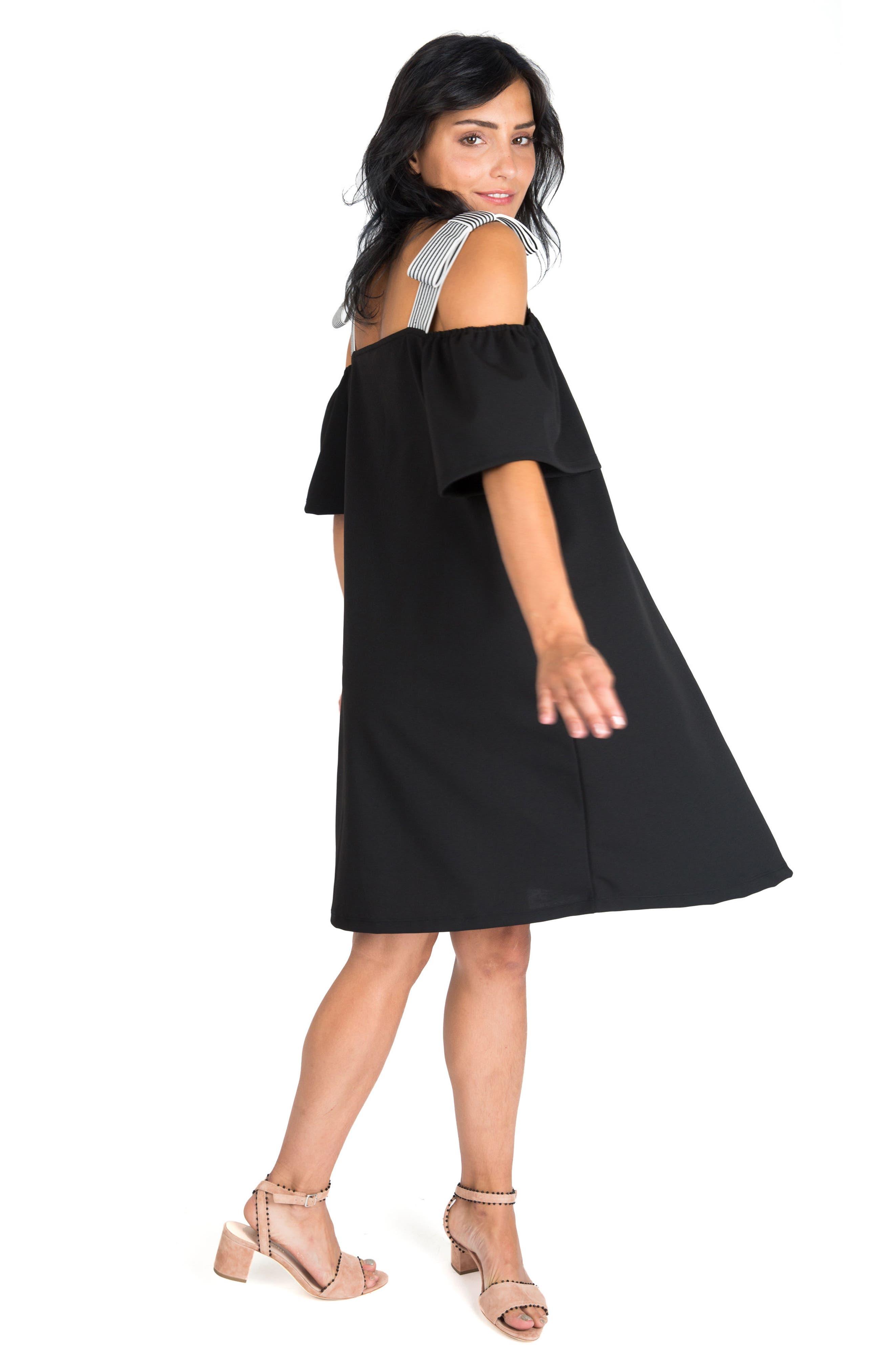 NOM MATERNITY,                             Millie Off the Shoulder Maternity Dress,                             Alternate thumbnail 5, color,                             BLACK