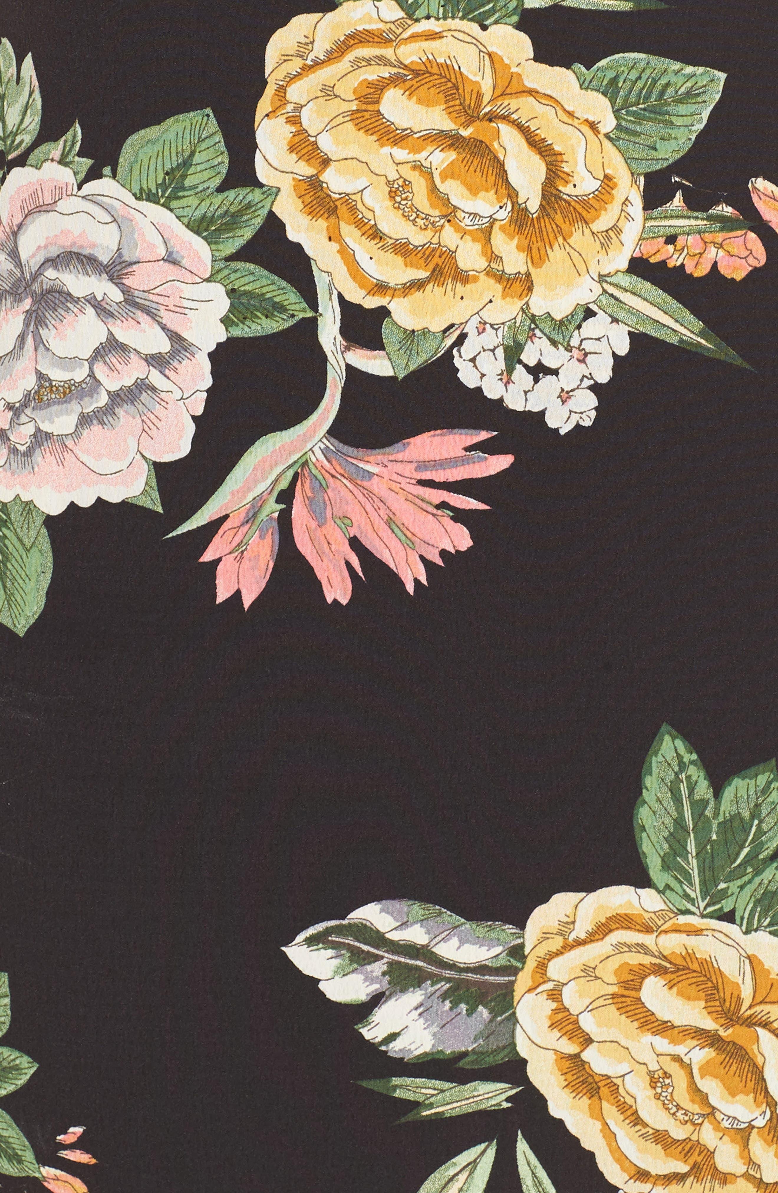 Enchanted Garden Lace-Up Dress,                             Alternate thumbnail 6, color,                             ENCHANTED GARDEN PRINT