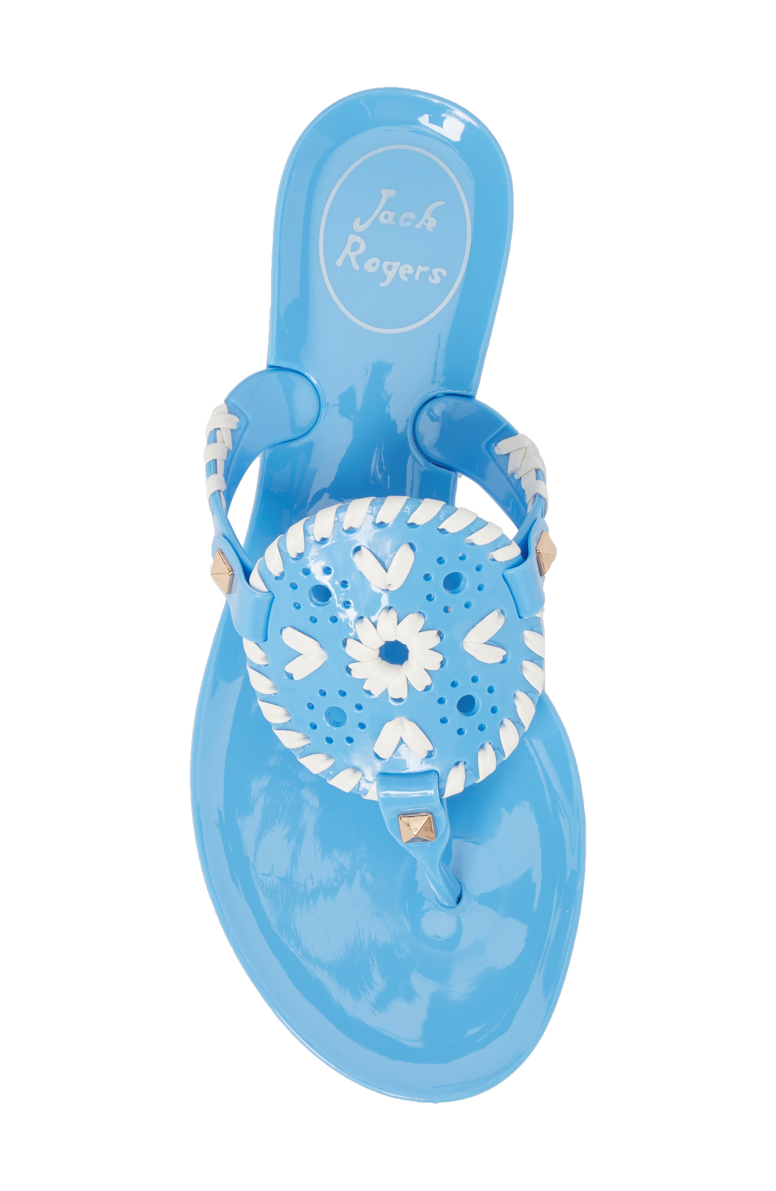 'Miss Georgica' Jelly Flip Flop,                             Alternate thumbnail 5, color,                             FRENCH BLUE/ WHITE JELLY