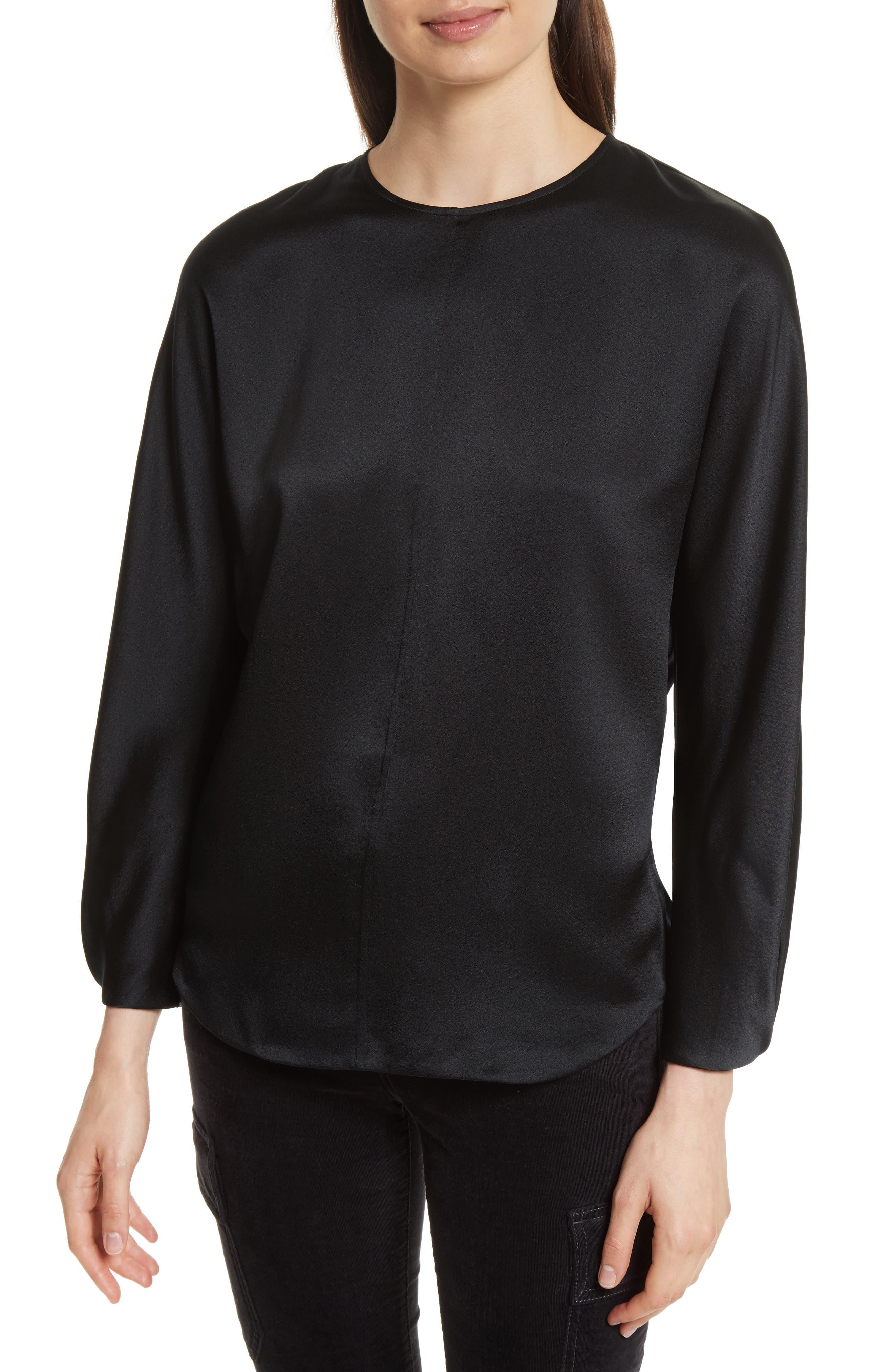 Split Back Silk Blouse,                         Main,                         color, 001