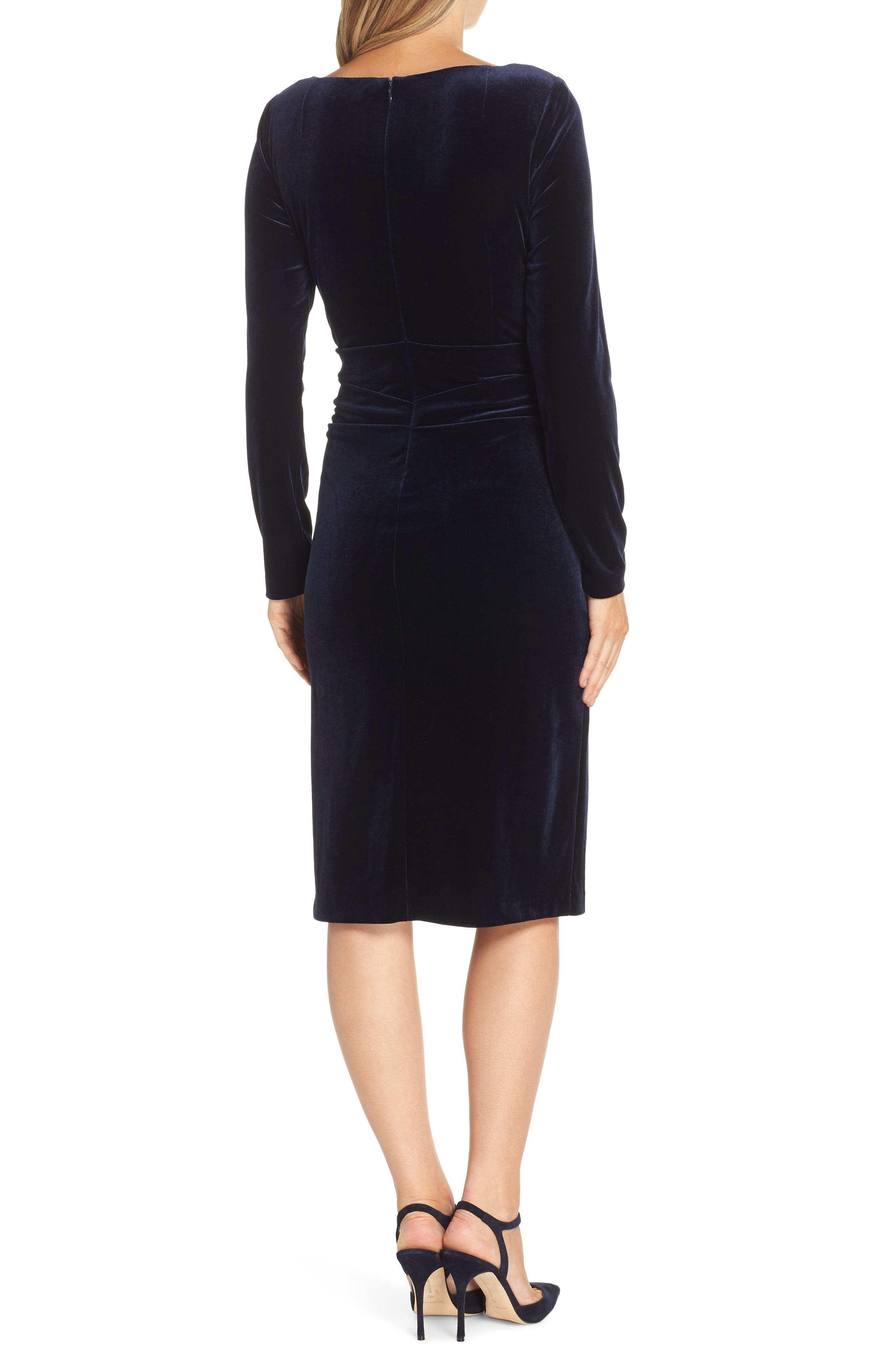 Ruched Dress,                             Alternate thumbnail 2, color,                             NAVY
