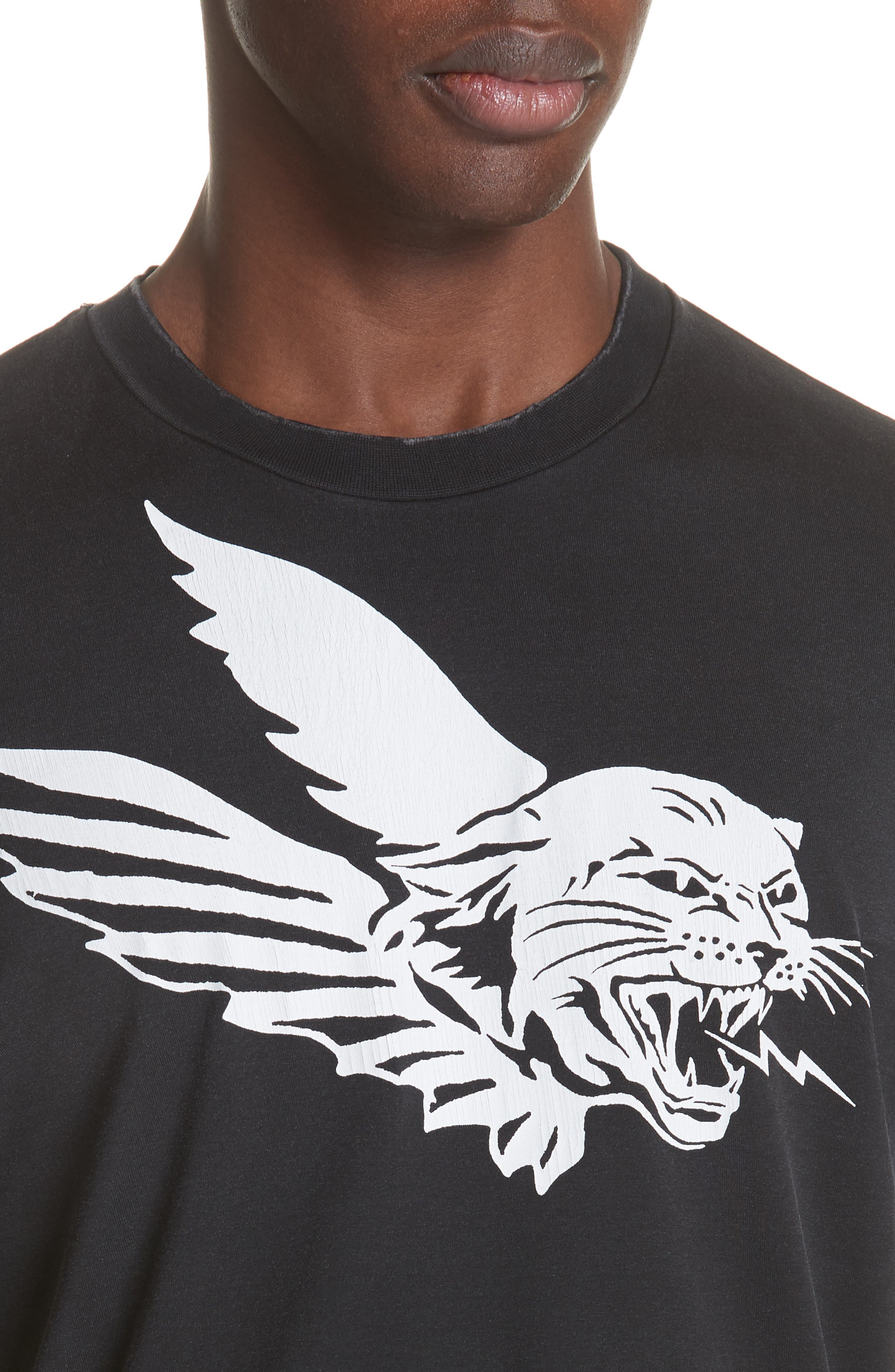 Flying Tiger Graphic T-Shirt,                             Alternate thumbnail 4, color,                             BLACK