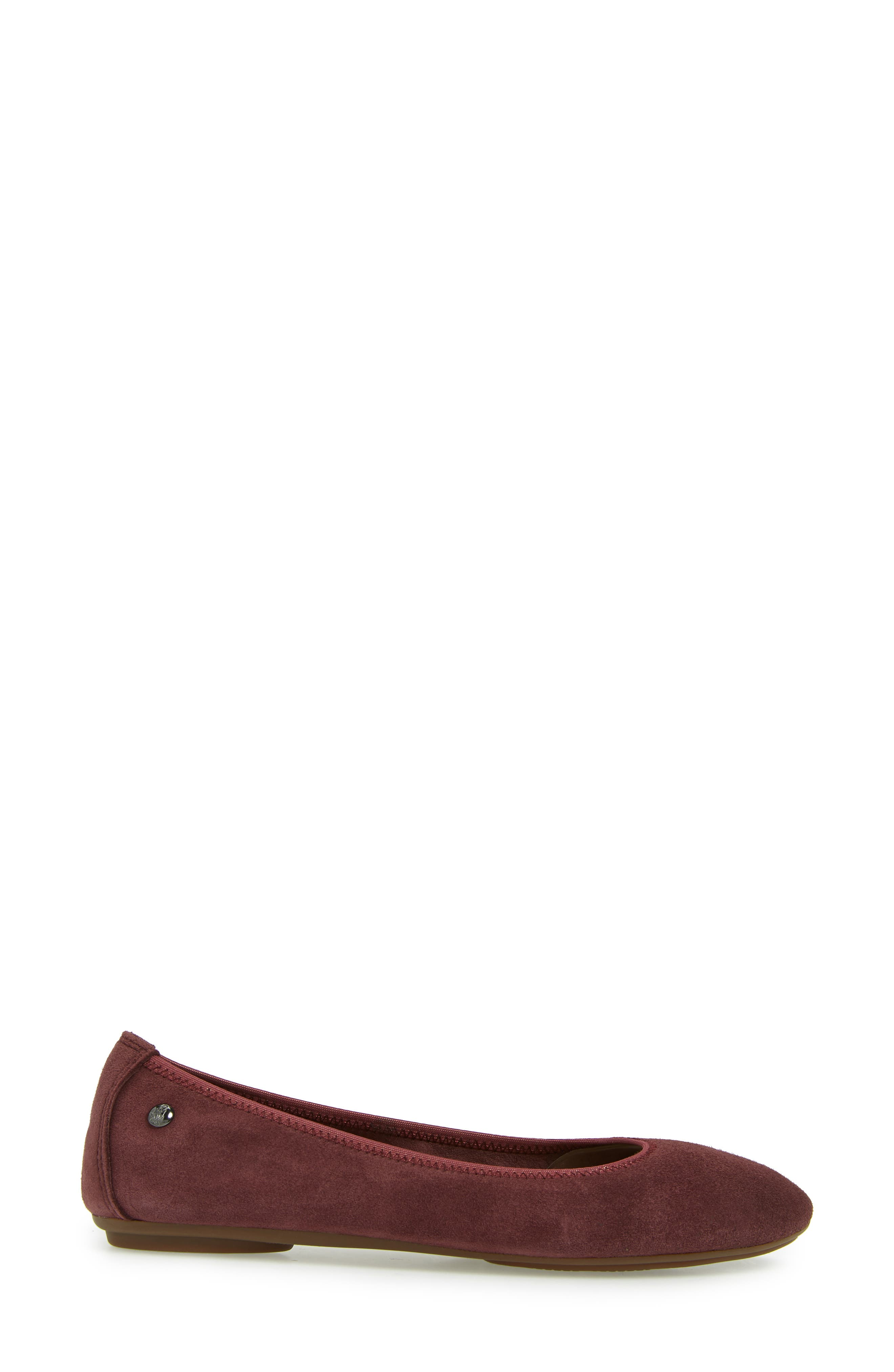 'Chaste' Ballet Flat,                             Alternate thumbnail 3, color,                             DARK WINE SUEDE